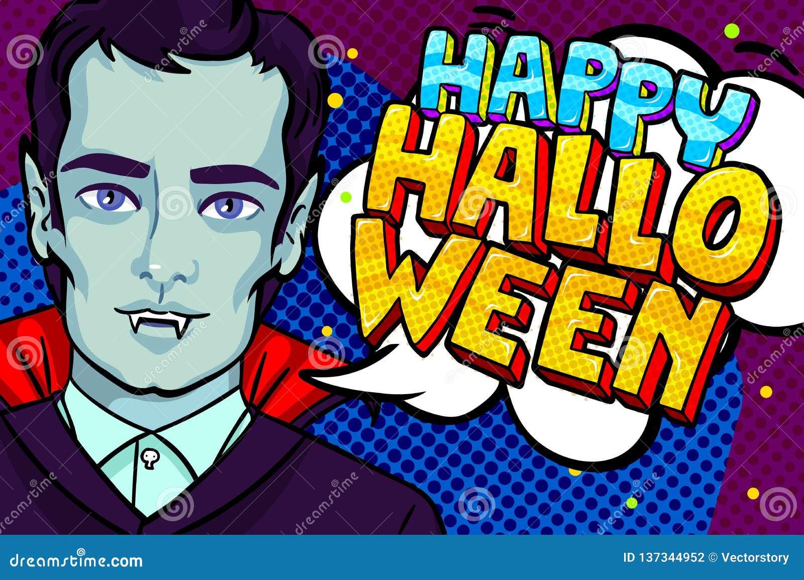 Ilustración de Víspera de Todos los Santos Vampiro con los colmillos y el mensaje del feliz Halloween