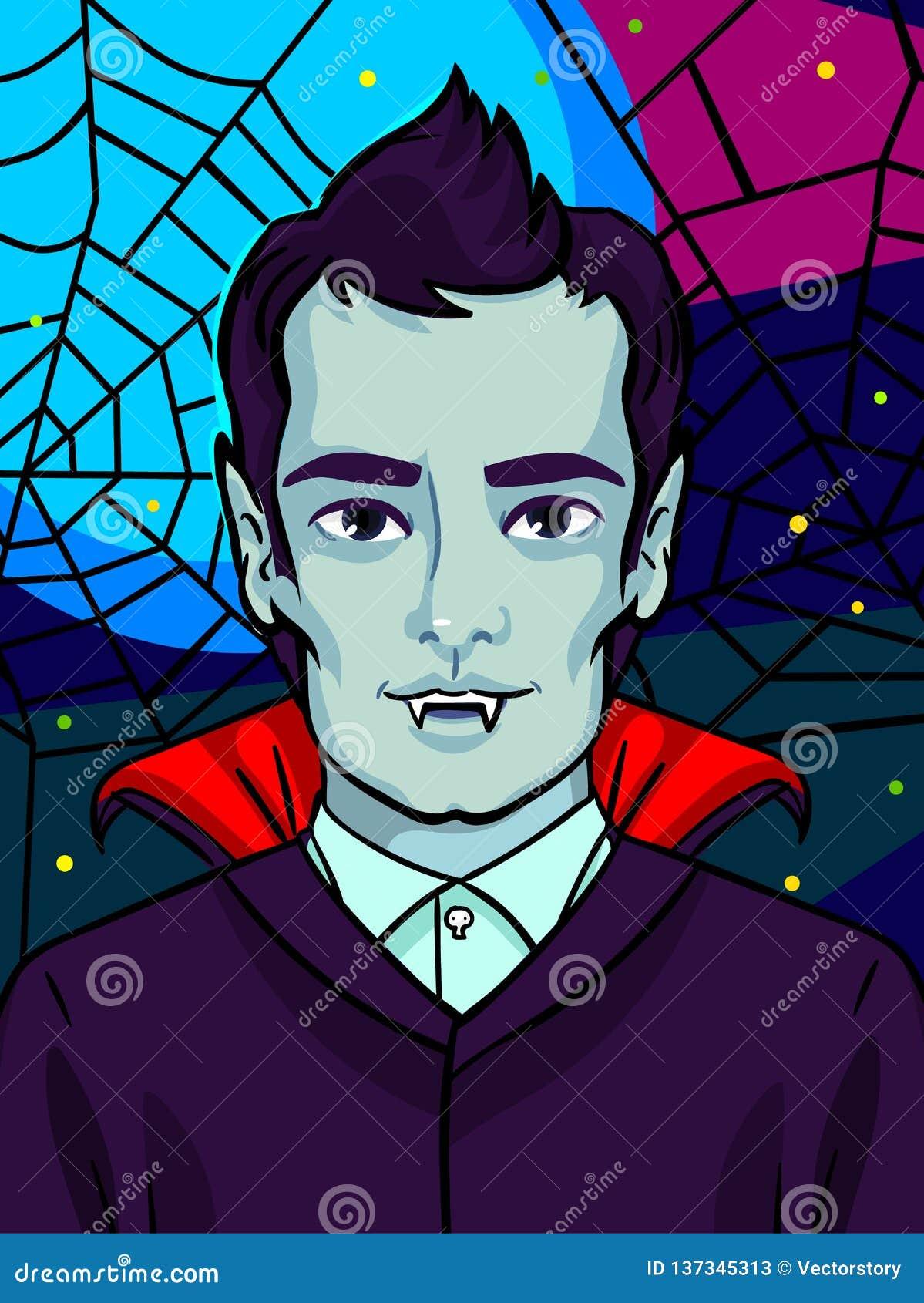 Ilustración de Víspera de Todos los Santos Vampiro con los colmillos y el pelo negro
