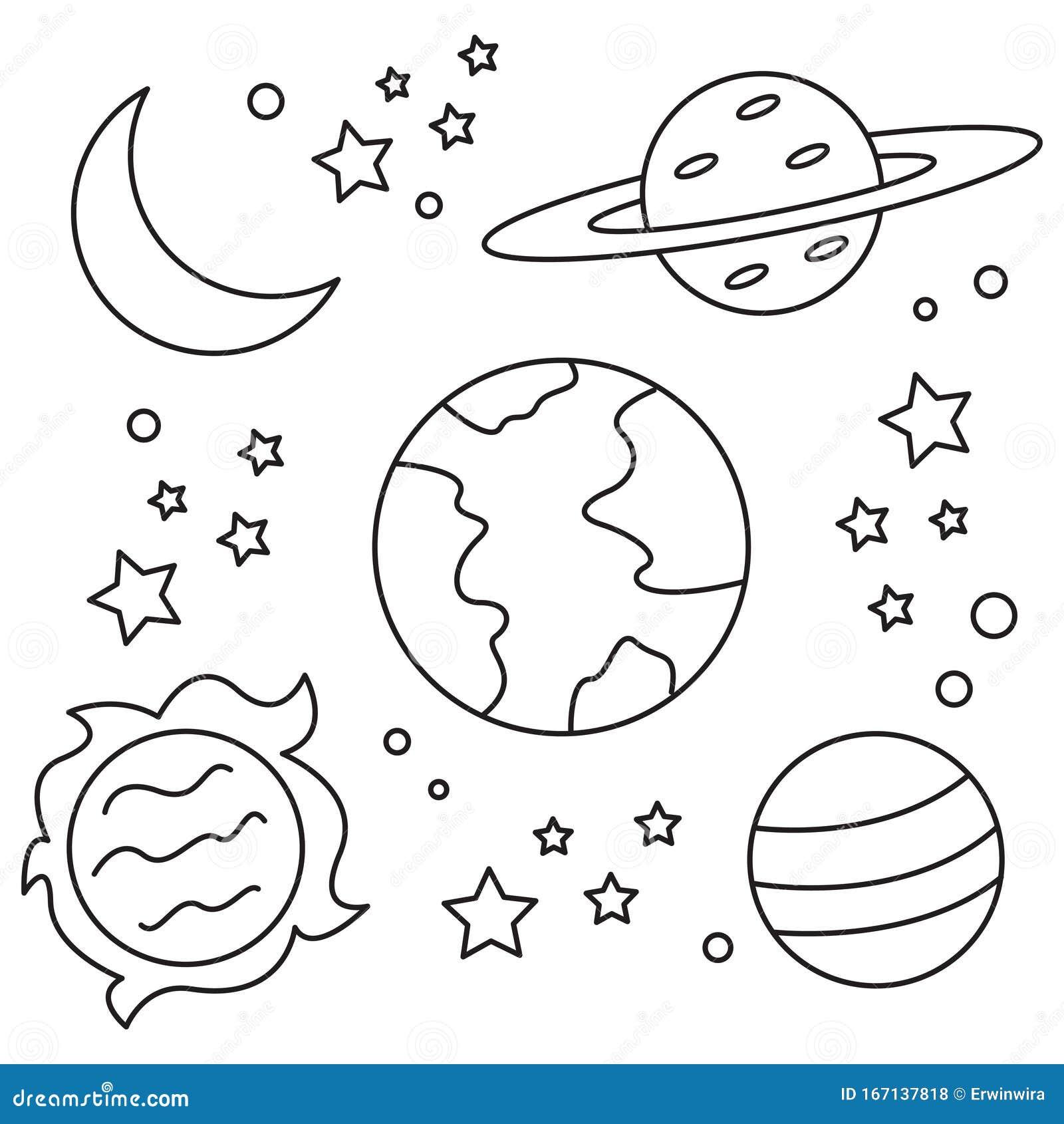 Ilustración Del Espacio Para Niños Coloreando El Libro Ilustración Del Vector Ilustración De Luna Universo 167137818