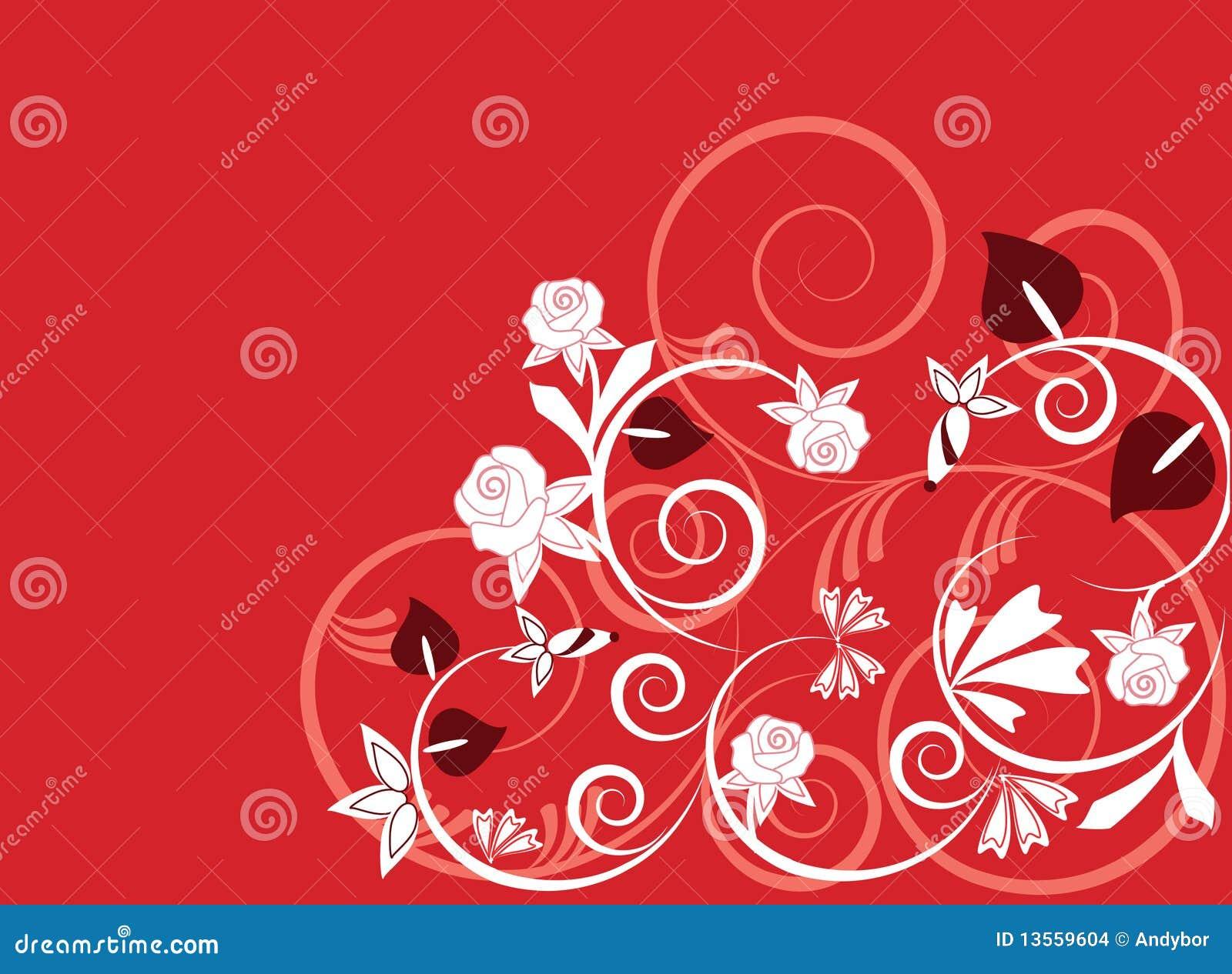 Ilustración Del Fondo Del Vector De Plantas En Rojo