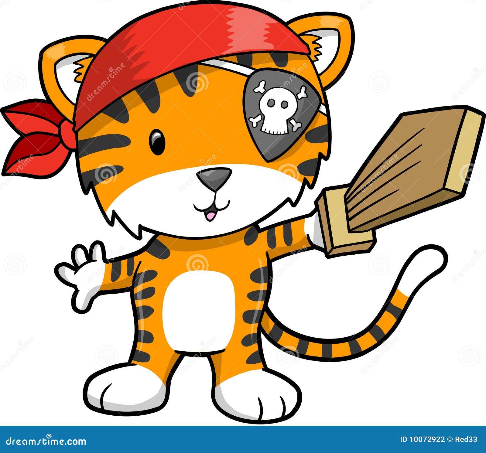 Ilustración del vector del tigre del pirata