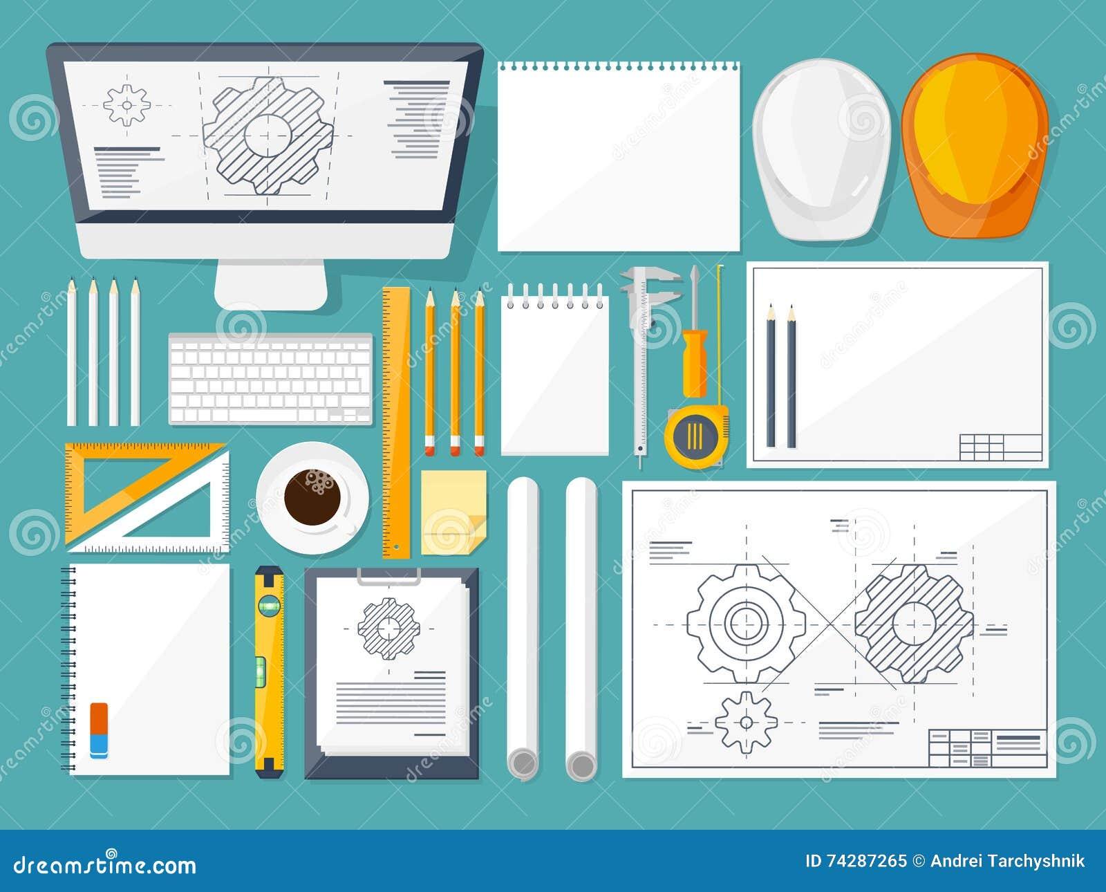 Ilustración del vector Ingeniería y arquitectura Dibujo, construcción Proyecto arquitectónico Diseño, bosquejando