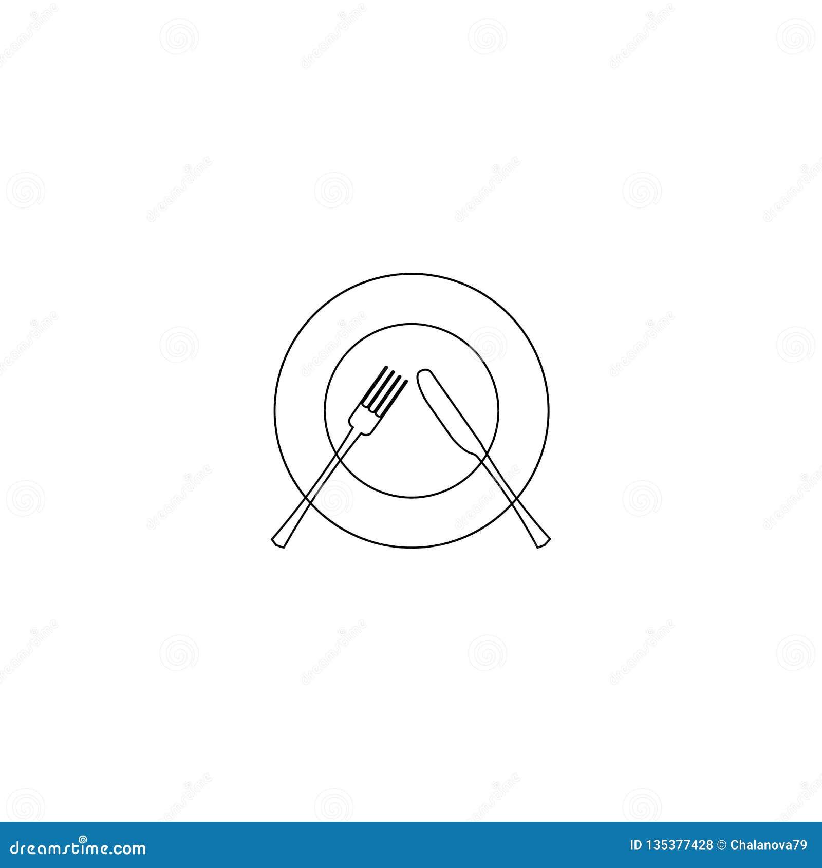 Ilustración del vector línea icono del cuchillo, de la cuchara y de la placa en el fondo blanco Icono del menú del restaurante Re