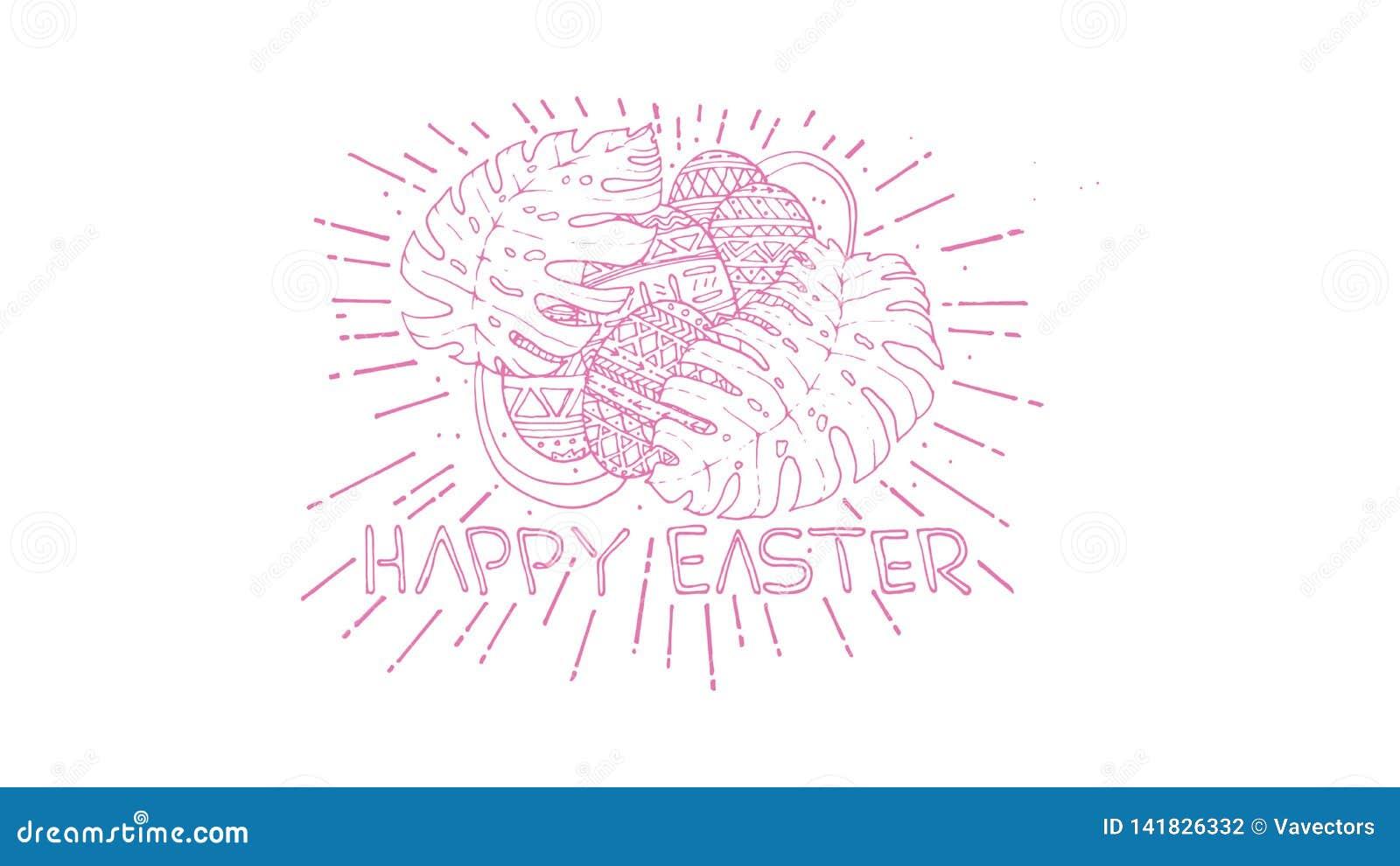 Ilustración del vector Letras coloridas modernas elegantes exhaustas de la mano feliz de Pascua aisladas en fondo - El fichero de