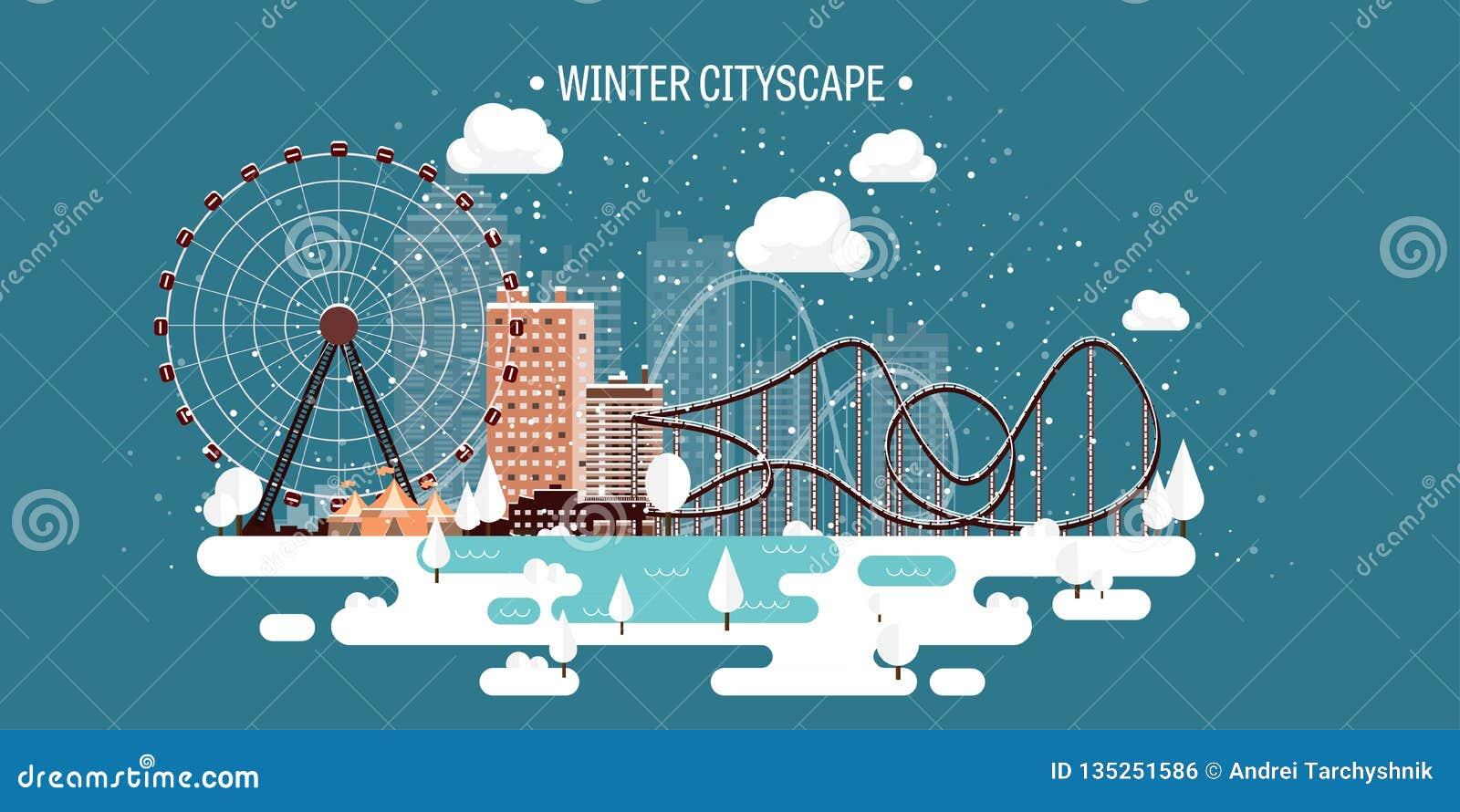 Ilustración del vector Paisaje urbano del invierno Ciudad con nieve La Navidad y Año Nuevo Paisaje urbano Edificios Ferris Wheel