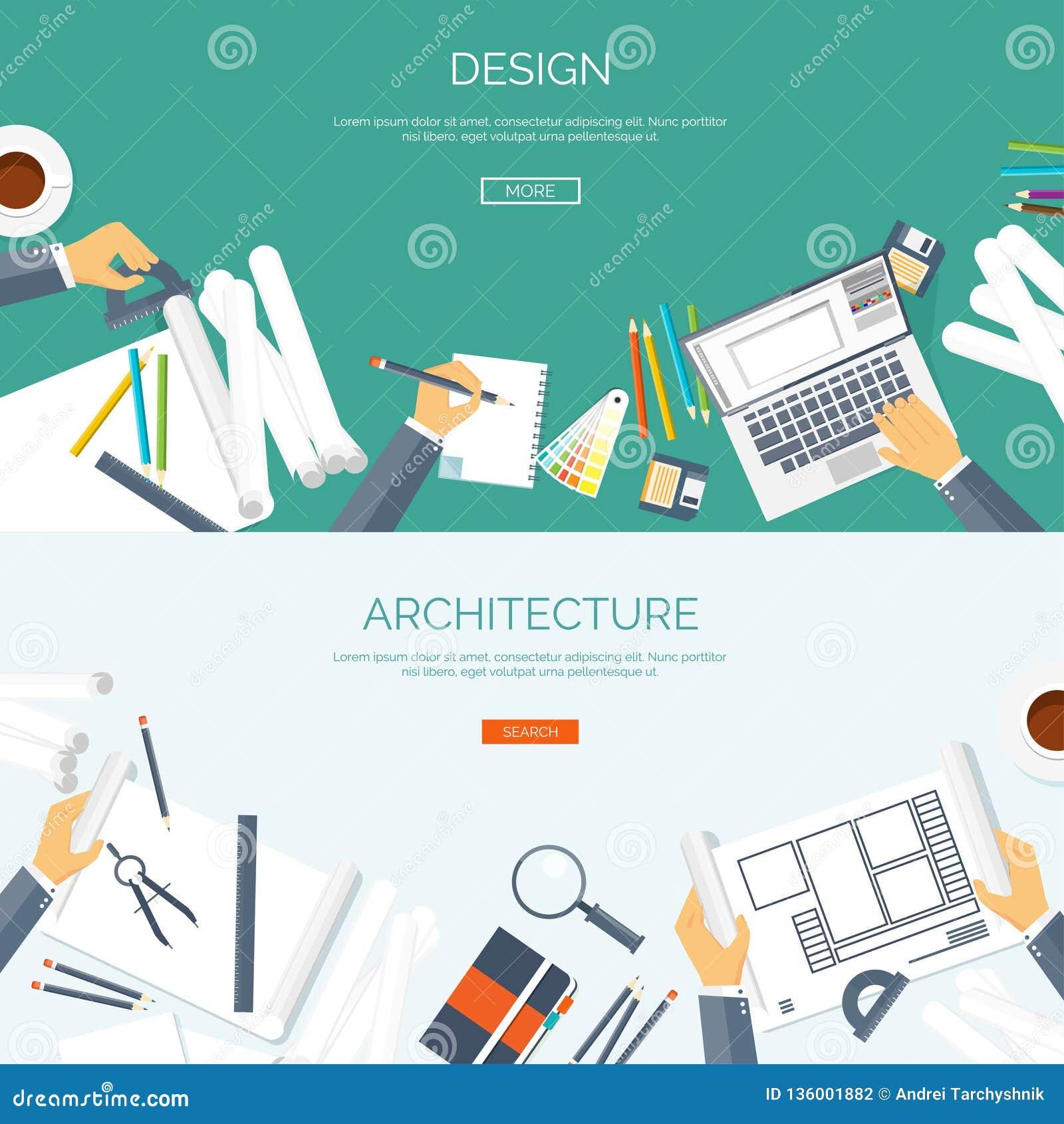 Ilustración del vector Proyecto arquitectónico plano Edificio del trabajo en equipo y construcción de planificación Mano del lápi