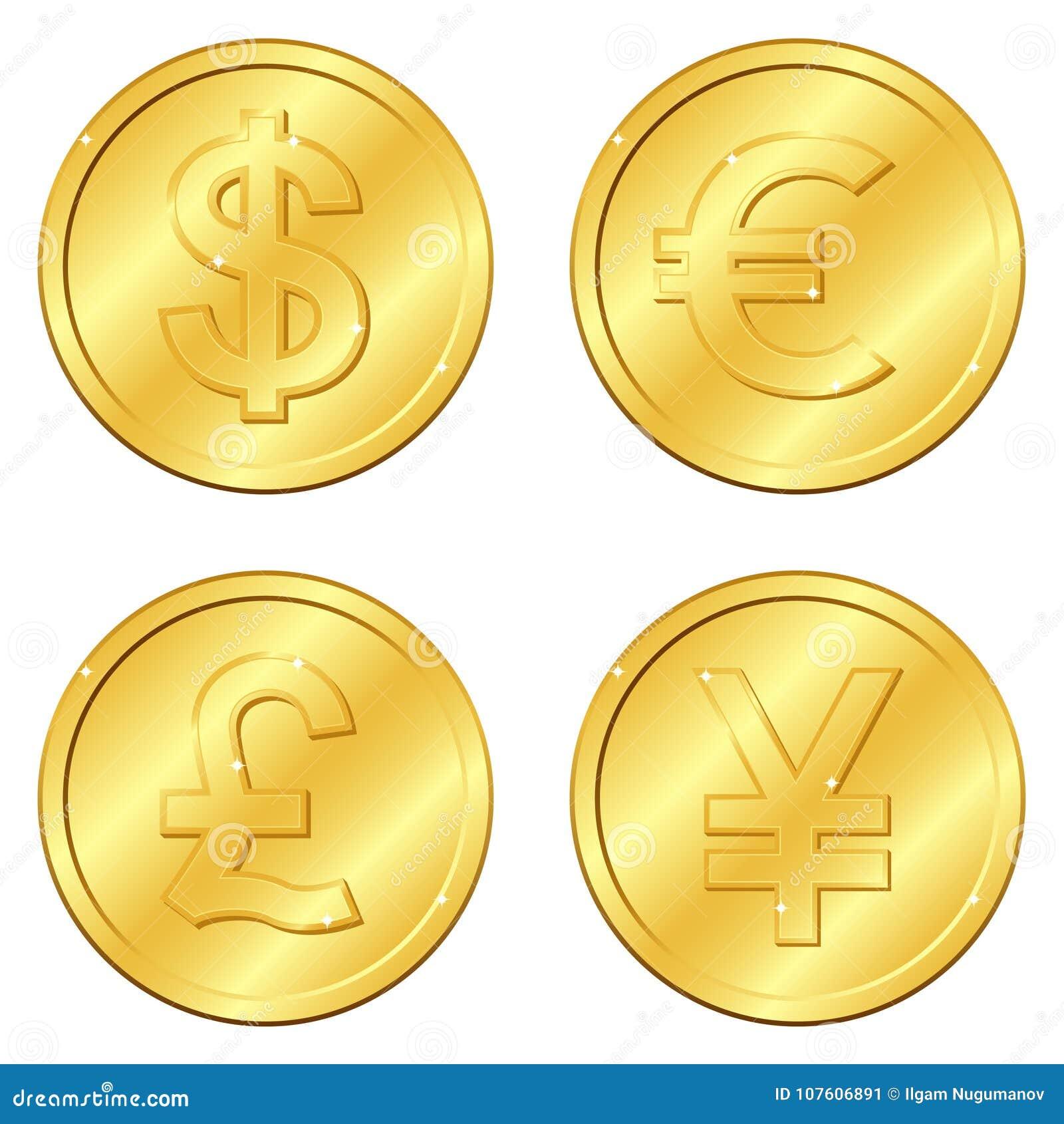 Ilustración del vector Sistema de monedas de oro con 4 monedas importantes Libra esterlina del dólar, del euro, Yuan o yenes viru