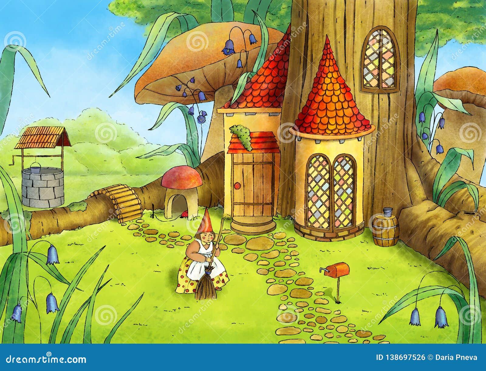 Ilustración drenada mano Casa del gnomo