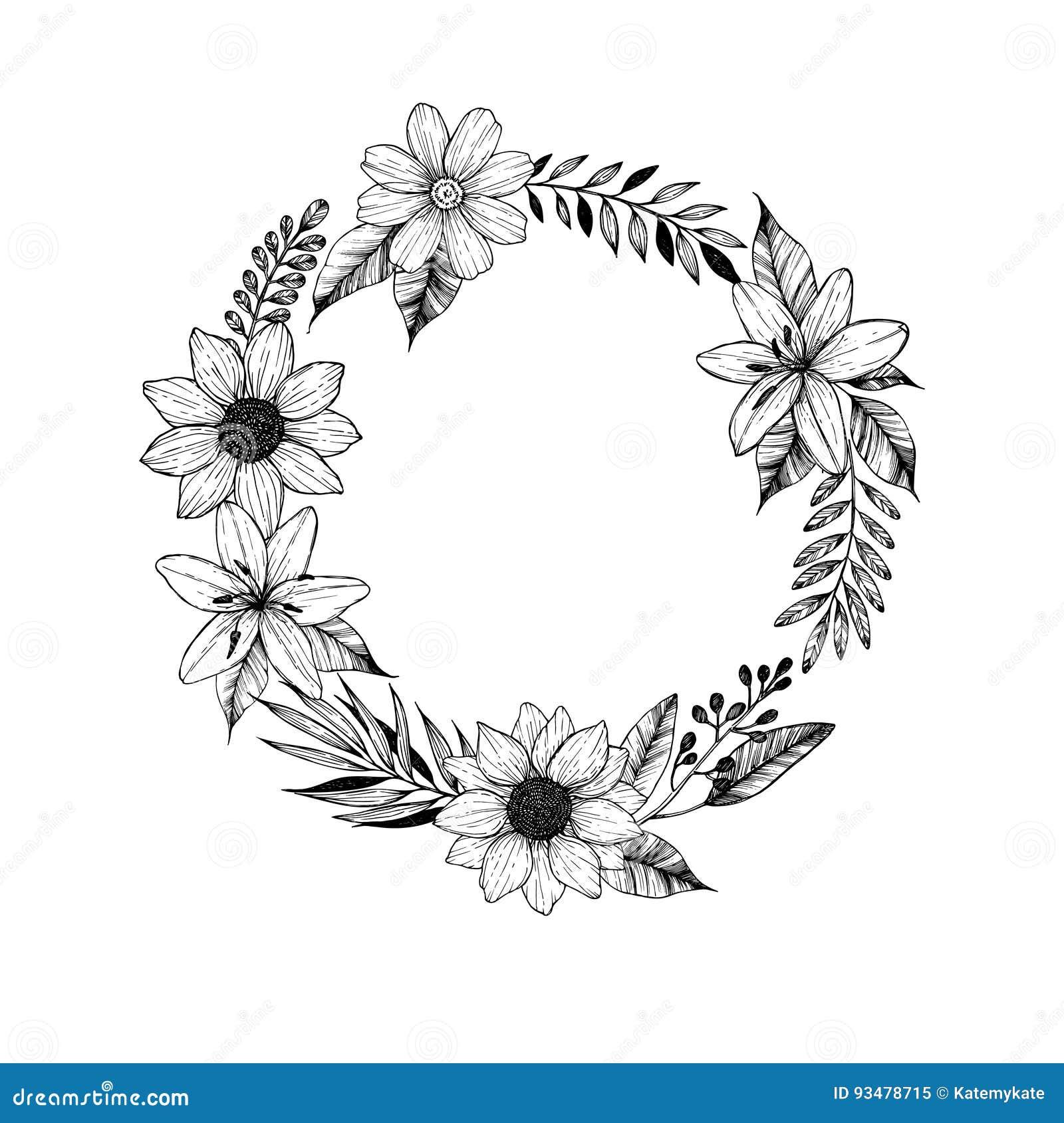Ilustracion Drenada Mano Del Vector Laurel Wreath Con Las Flores