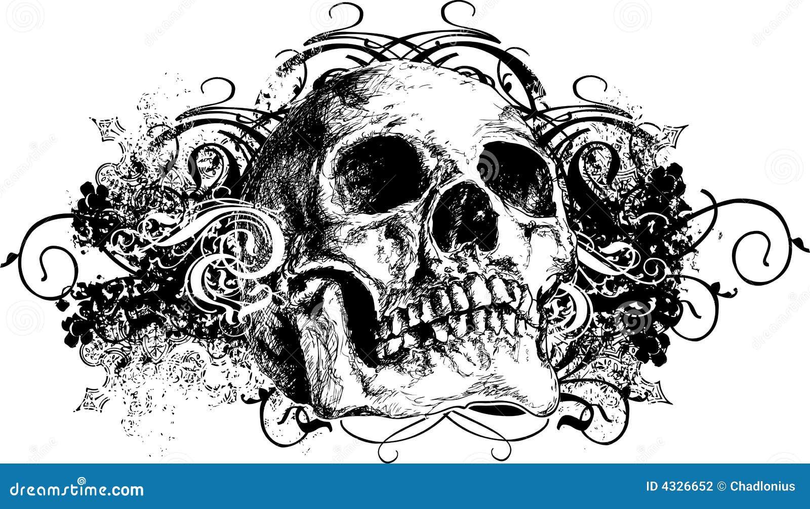 Ilustración floral traviesa del cráneo