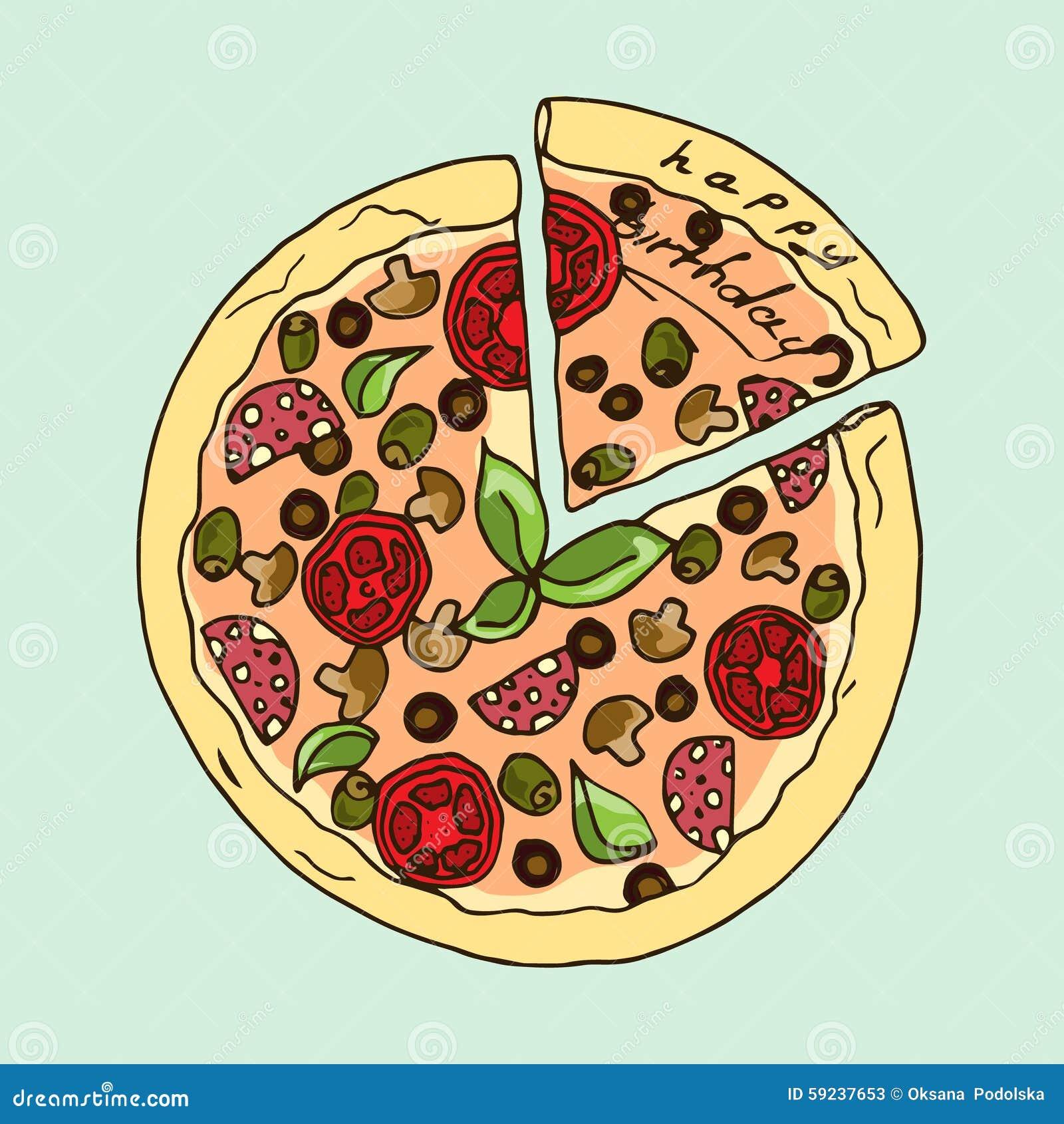 Ilustración Pizza apetitosa Feliz cumpleaños