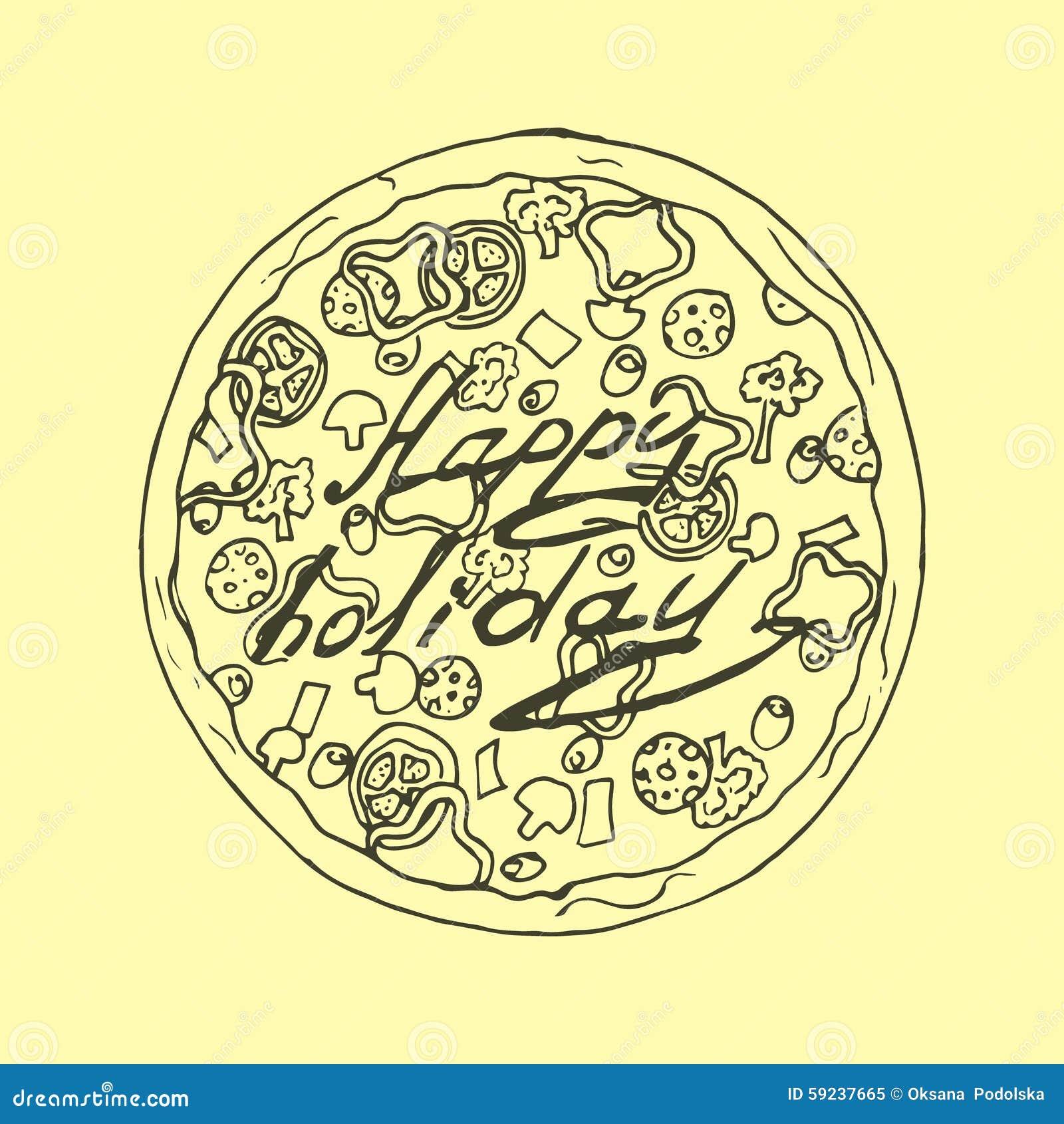 Ilustración Pizza en estilo del vintage Día de fiesta feliz