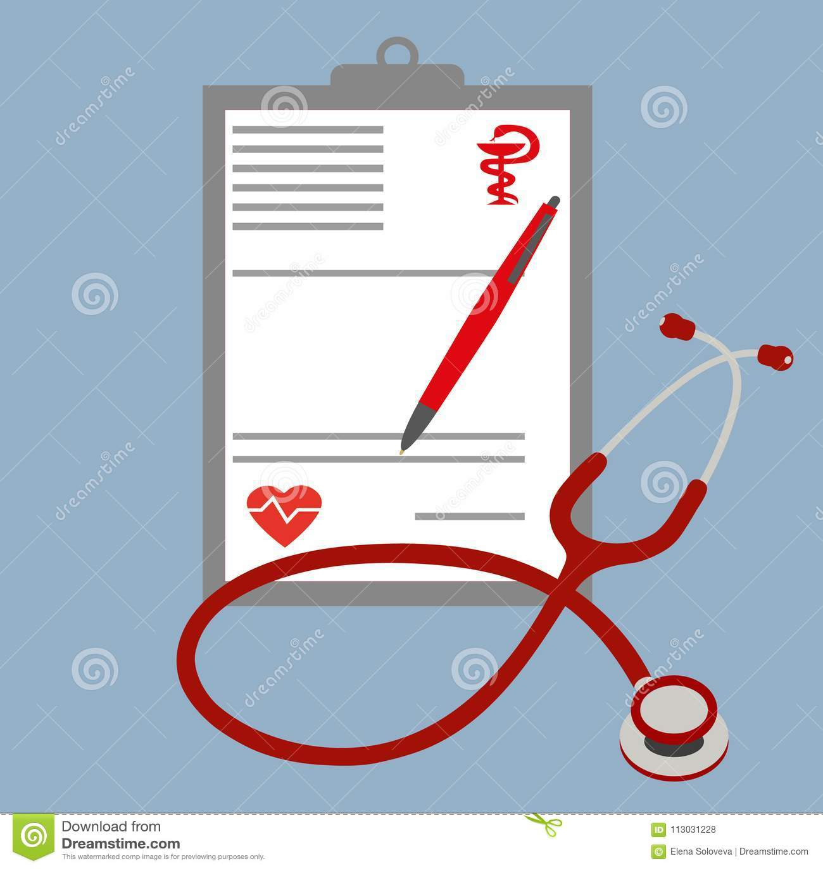 Ilustración realista Prescripción médica y estetoscopio Concepto de la atención sanitaria con el phonendoscope
