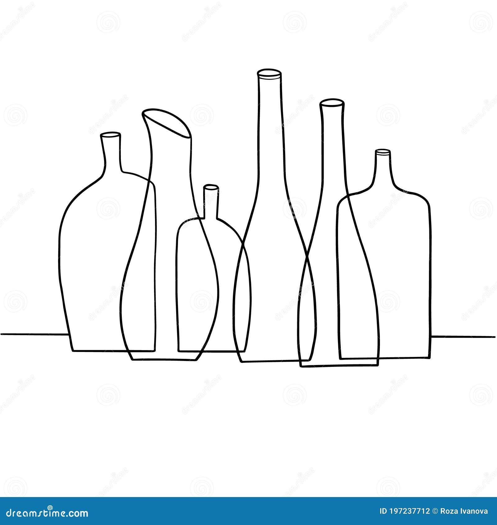Del Norte Una vez más Inhalar  Ilustración Vectorial Hecha A Mano De Botellas De Bebidas Alcohólicas  Vacías Alineadas En Fila Ilustración del Vector - Ilustración de  ilustración, vacías: 197237712