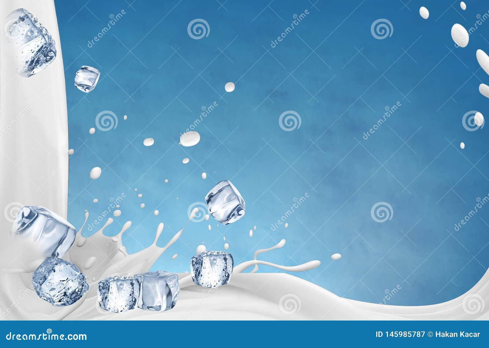 Ilustraci?n 3D El ejemplo del chapoteo de la leche, leche realista salpica