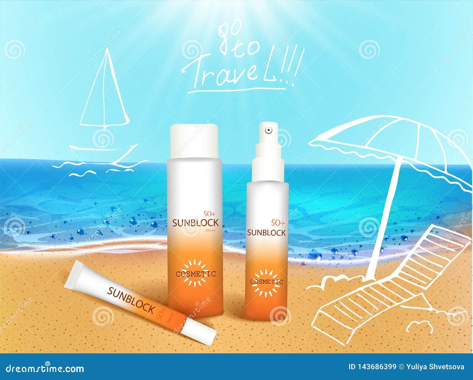 Ilustraci?n del vector botellas 3d con los productos cosm?ticos de la protecci?n del sol en la playa tropical con el elemento del