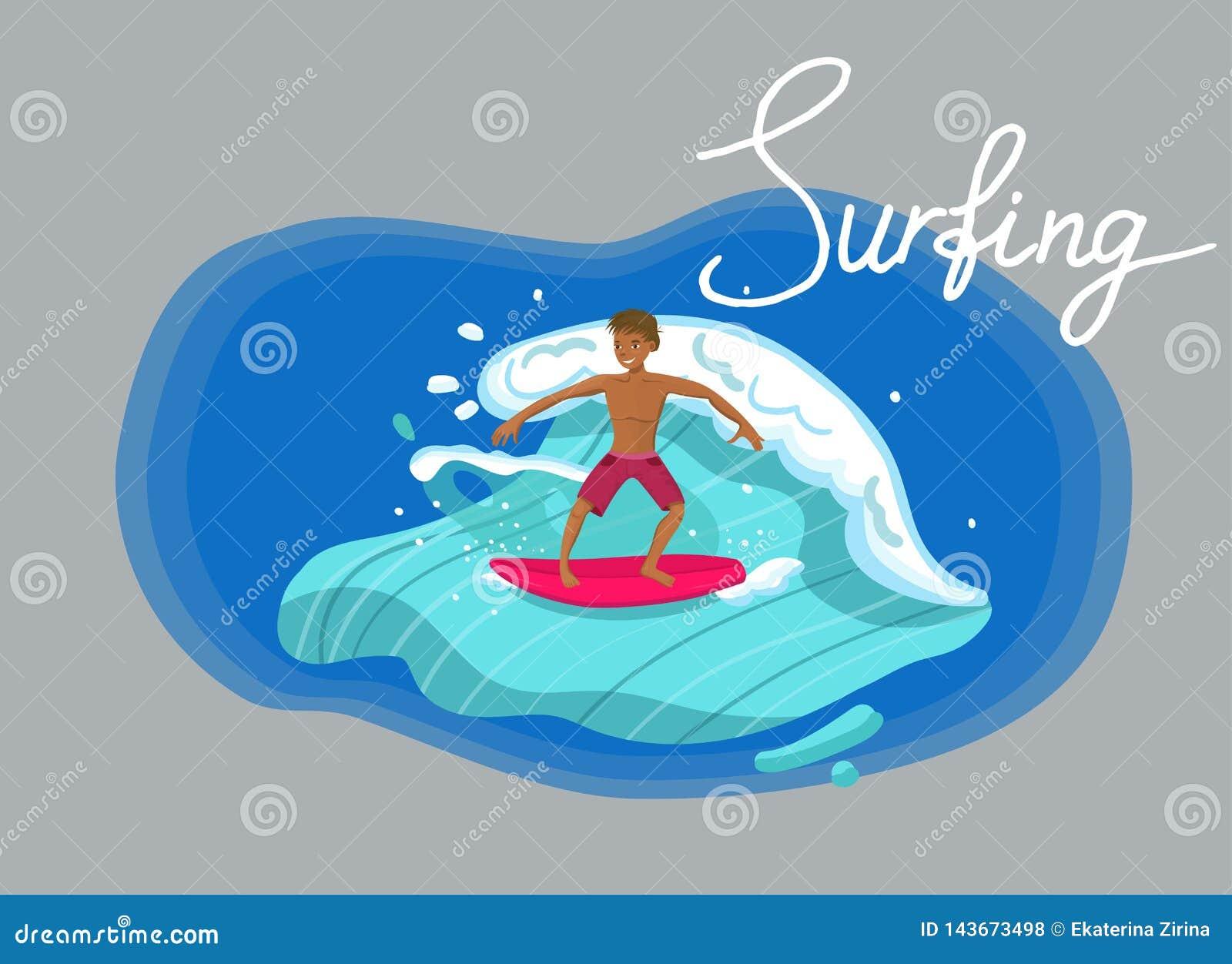 Ilustraci?n que practica surf