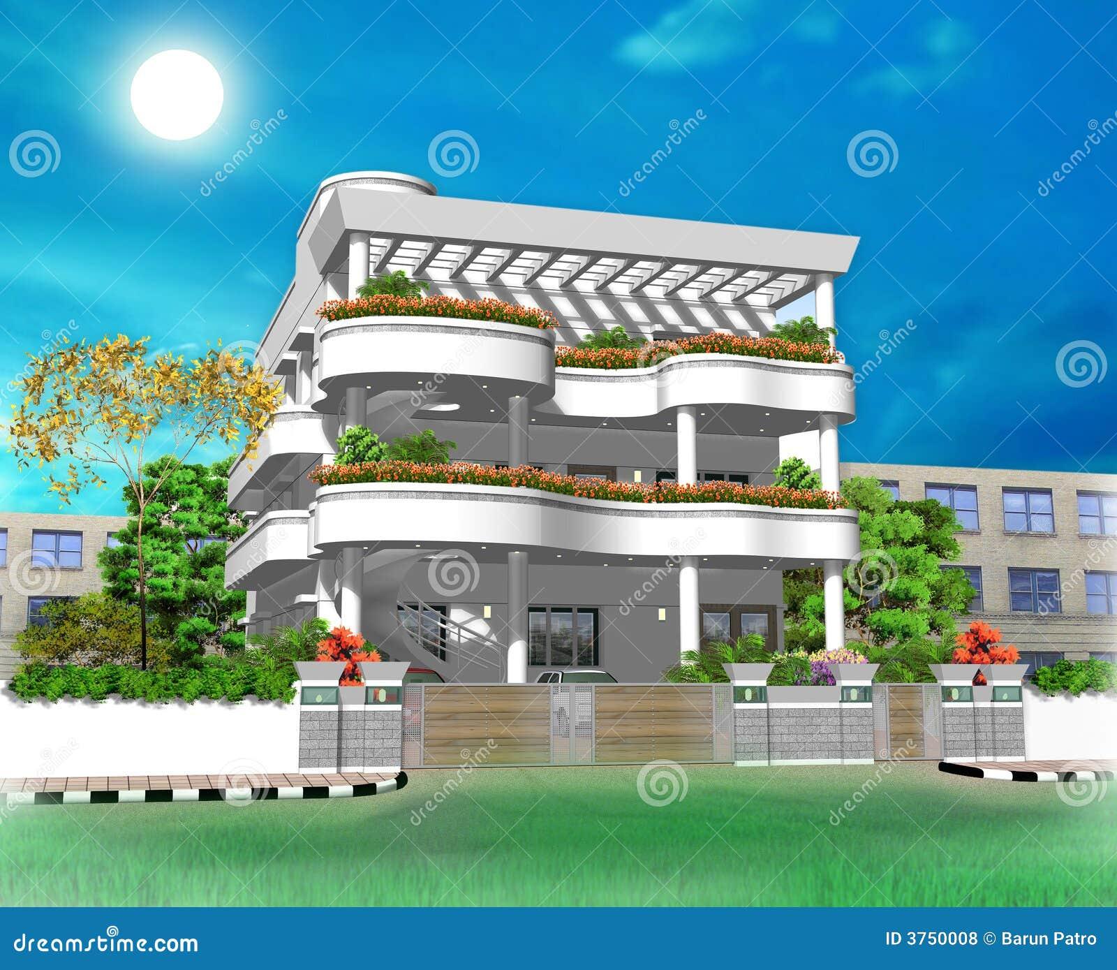 Ilustración De La Casa 3D Fotos De Archivo Libres De