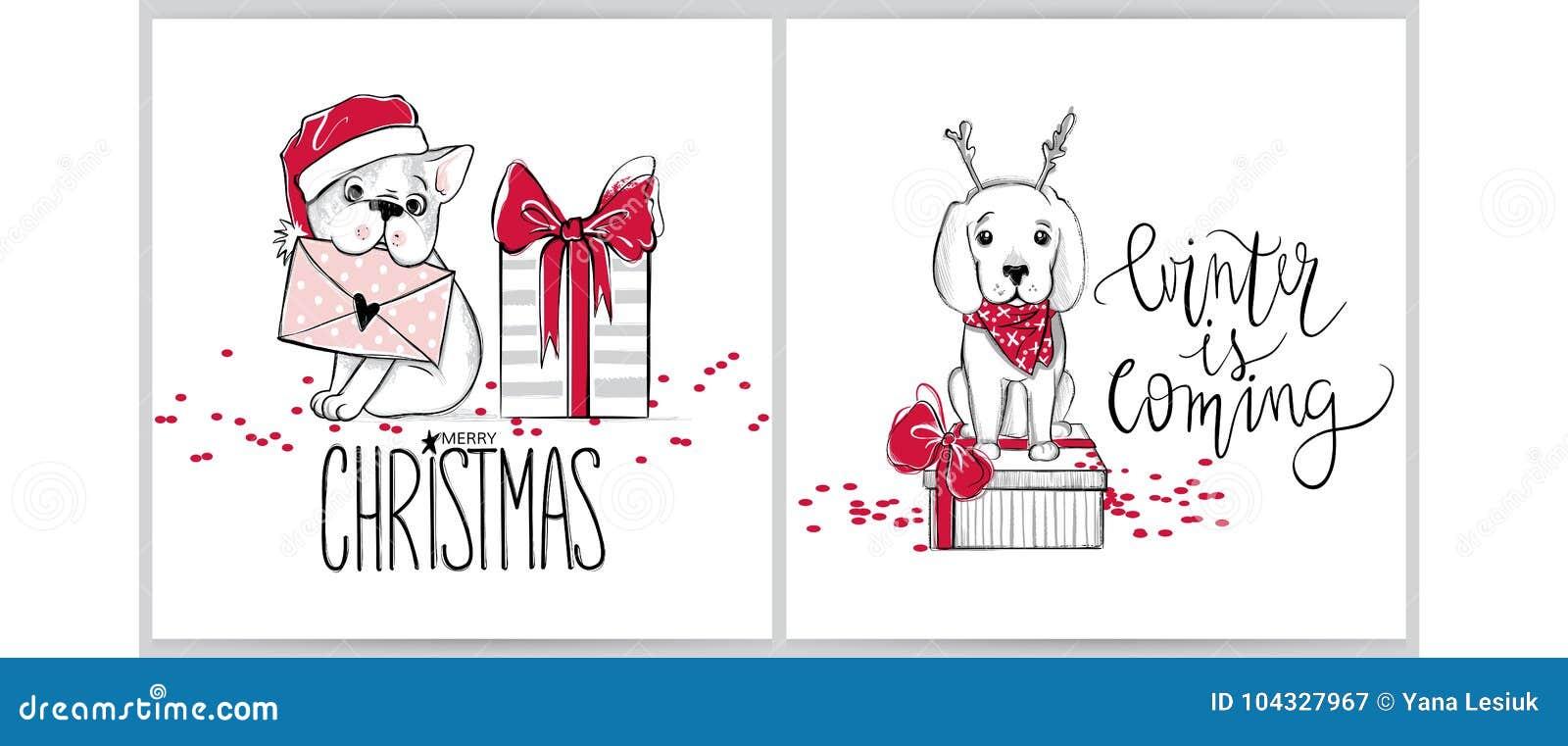 Ilustraciones De La Feliz Navidad Perros Divertidos Vector Las ...