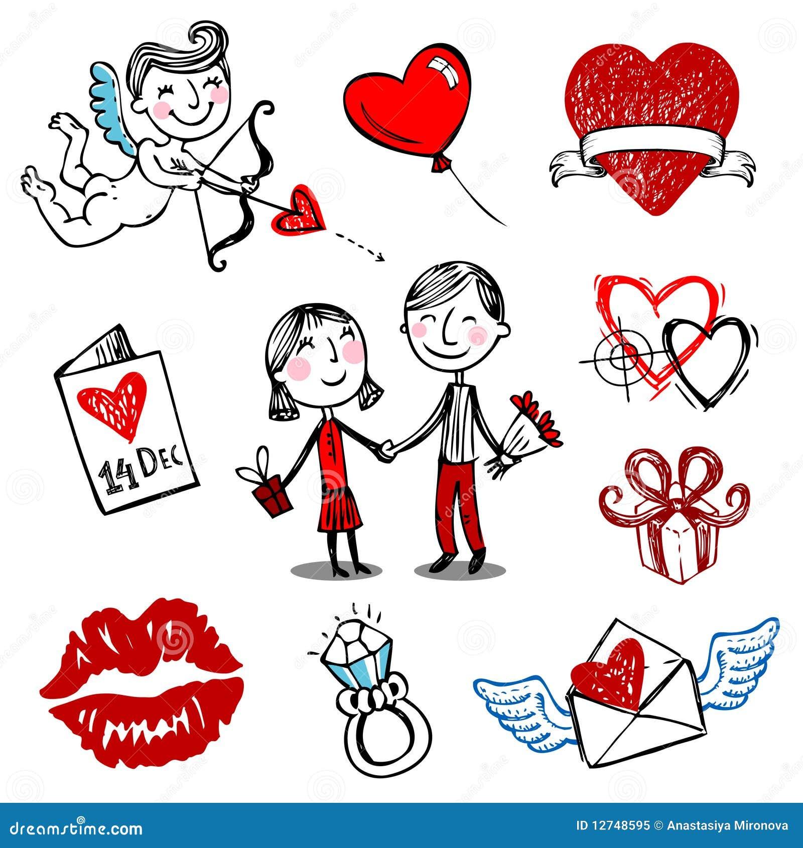 Ilustraciones del vector de la tarjeta del día de San Valentín