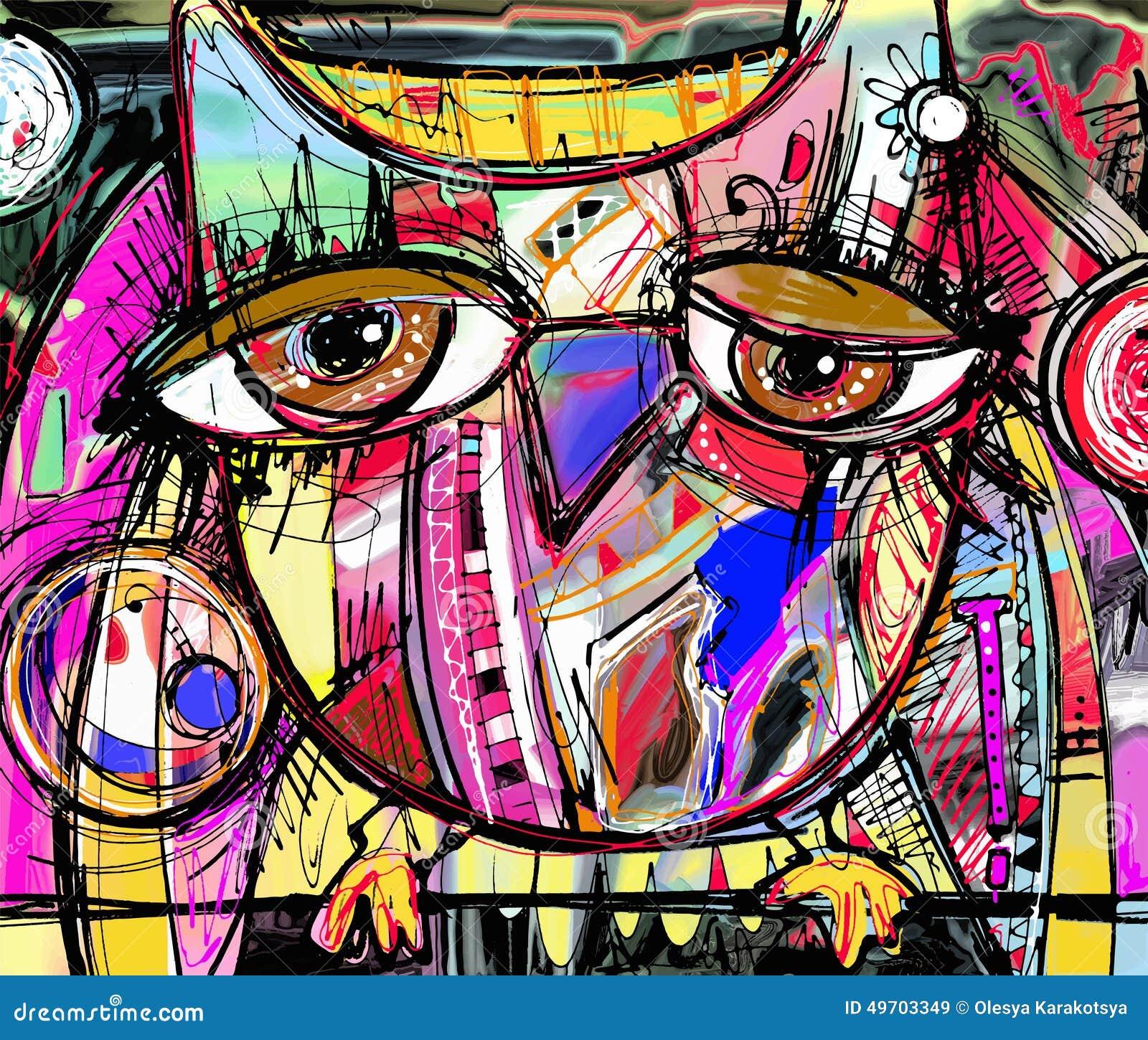 Ilustraciones digitales abstractas de la pintura del búho del garabato
