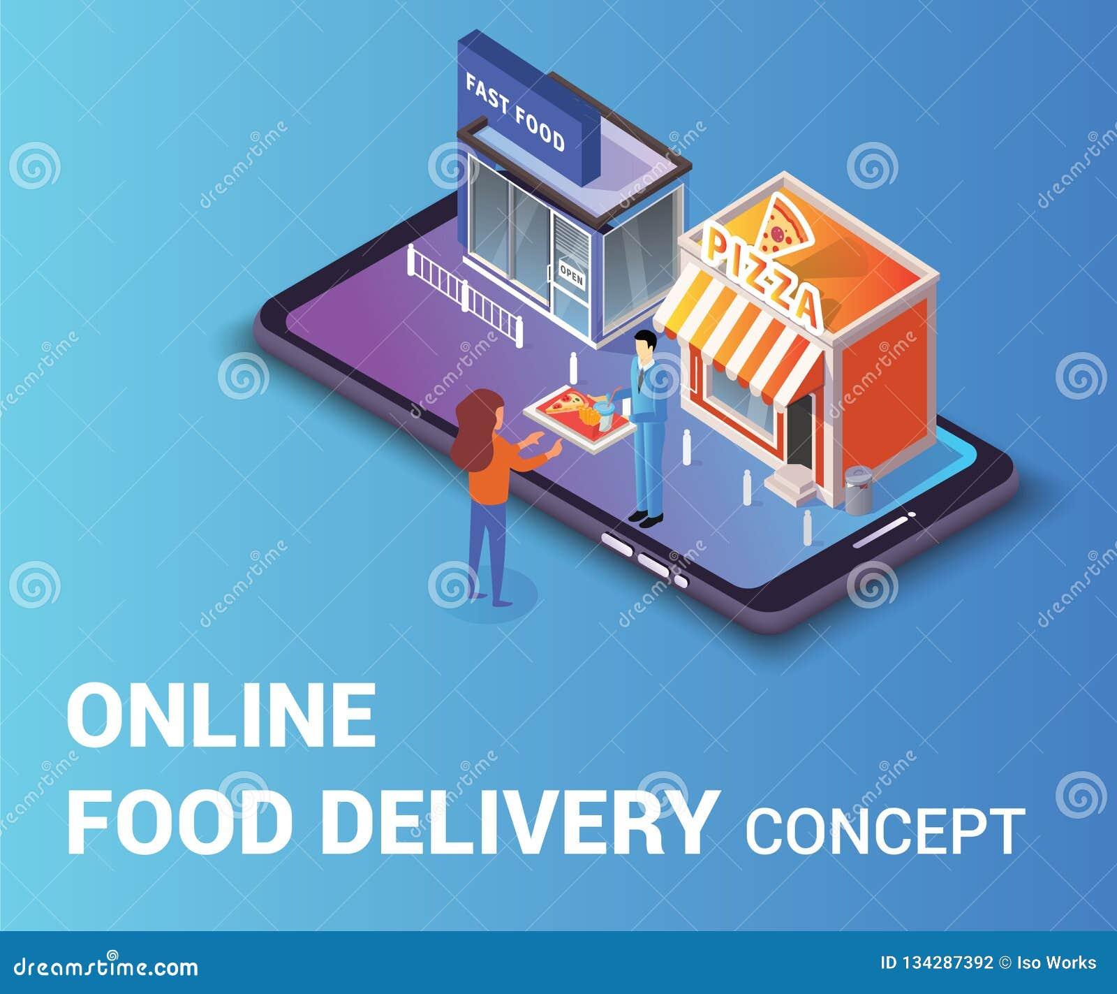 Ilustraciones isométricas de la comida del concepto en línea de la entrega donde un hombre está dando a mujeres la bandeja de la