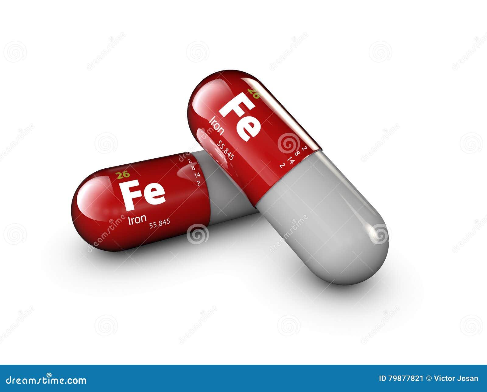 Ilustracja żelazna kopalina Glansowana opadowa pigułki kapsuła i witamina kompleks Zdrowego życia medyczny żywienioniowy nadprogr