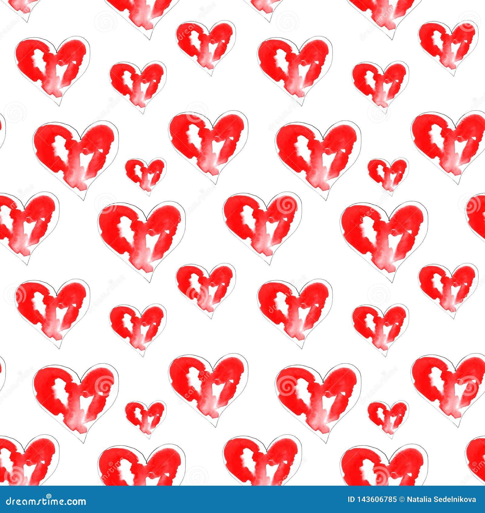 Ilustracja akwareli czerwieni serca