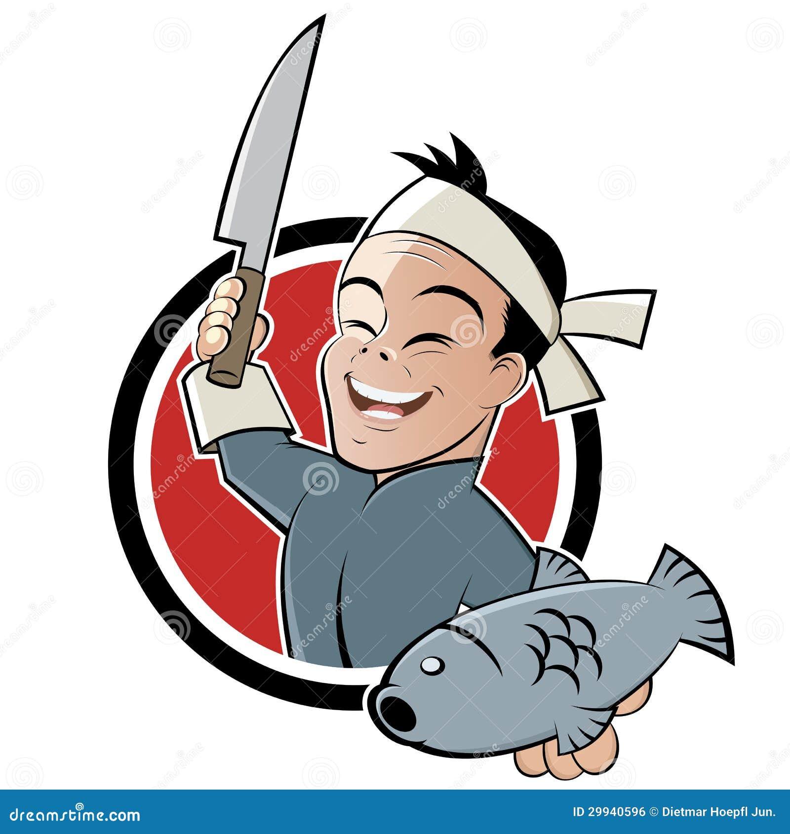 Azjatycki szef kuchni z ryba
