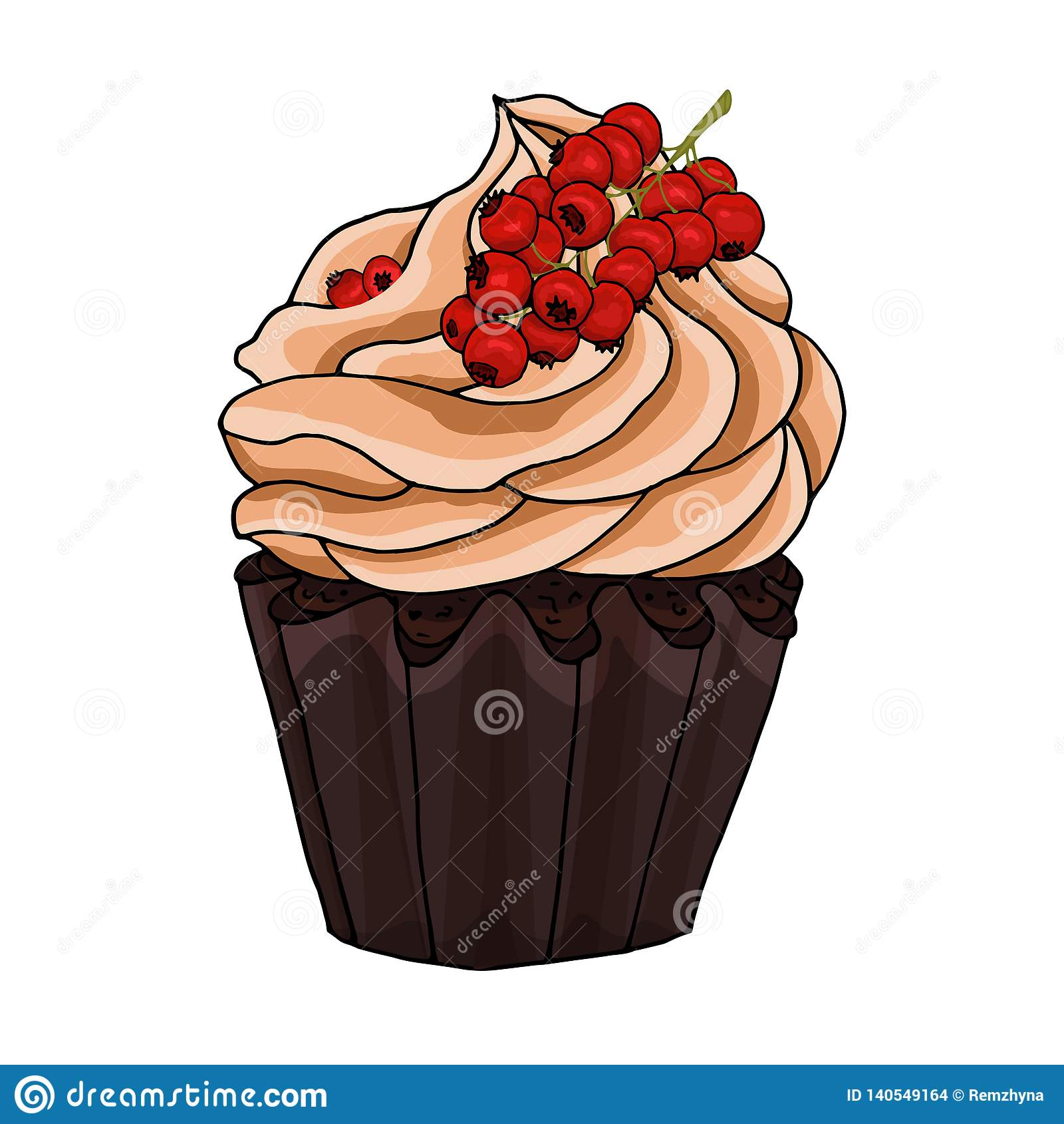 Ilustracja babeczka dekoruje z czekoladową śmietanką i wiązką czerwoni rodzynki odizolowywającymi na białym tle,