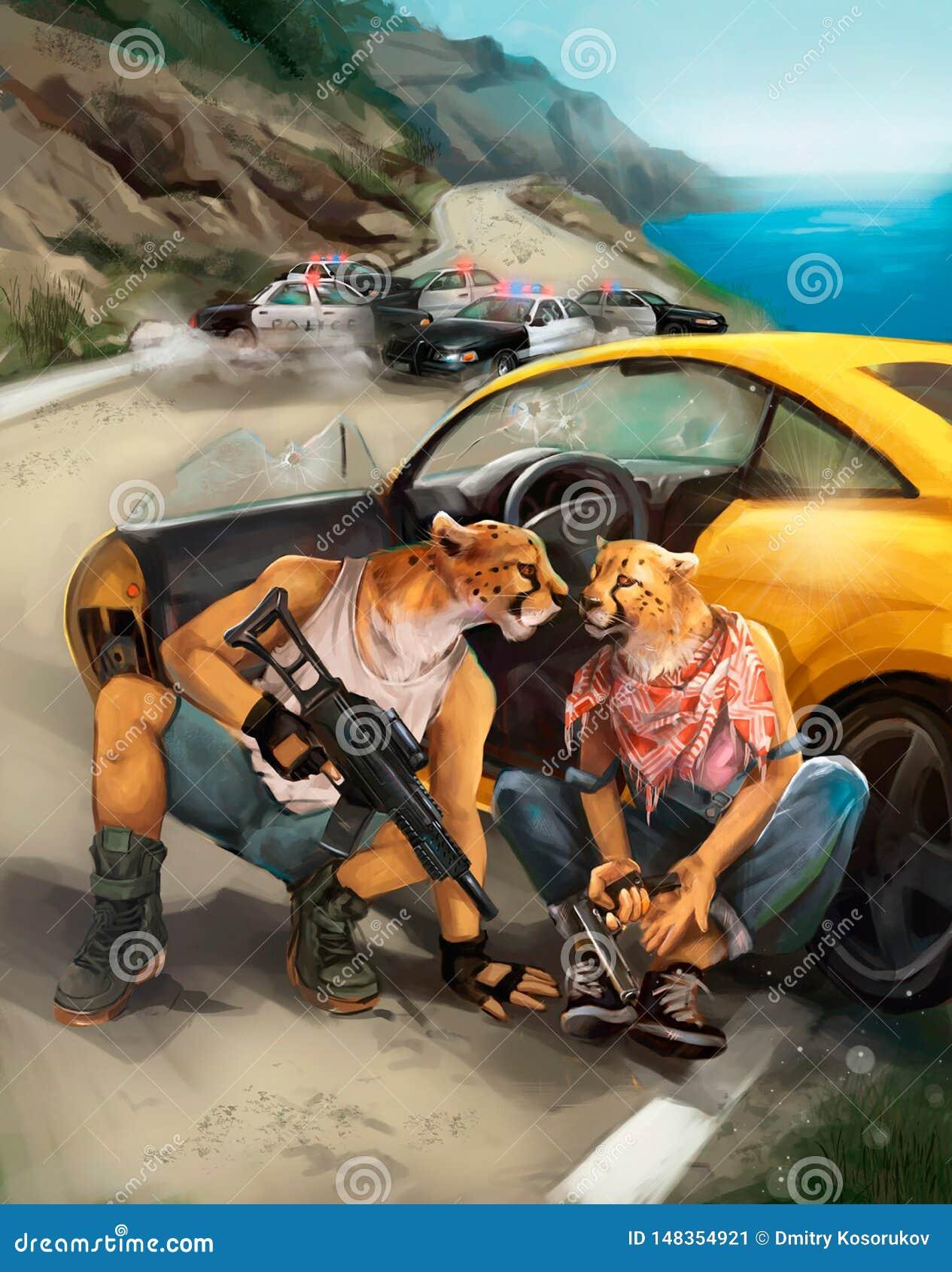 Ilustracja bandyci ucieka od policji