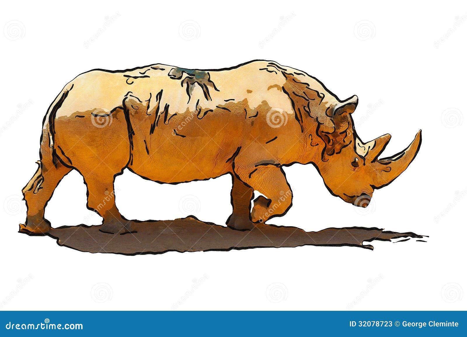 Ilustracja biała nosorożec