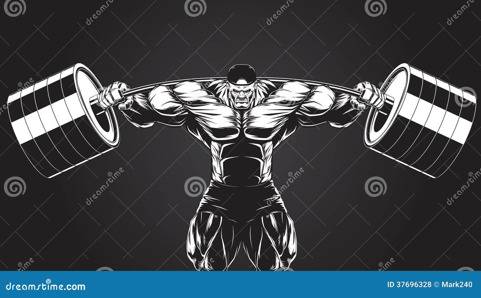 Ilustracja: bodybuilder z barbell