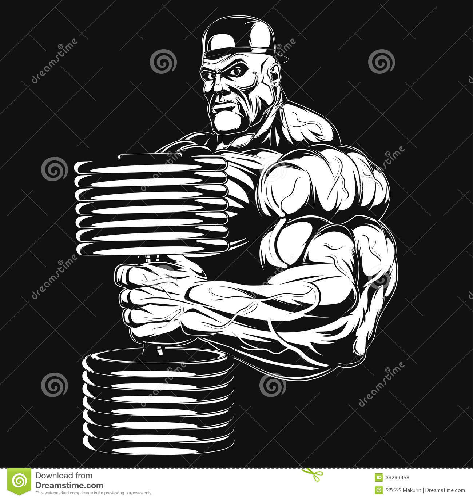Ilustracja: bodybuilder z dumbbell