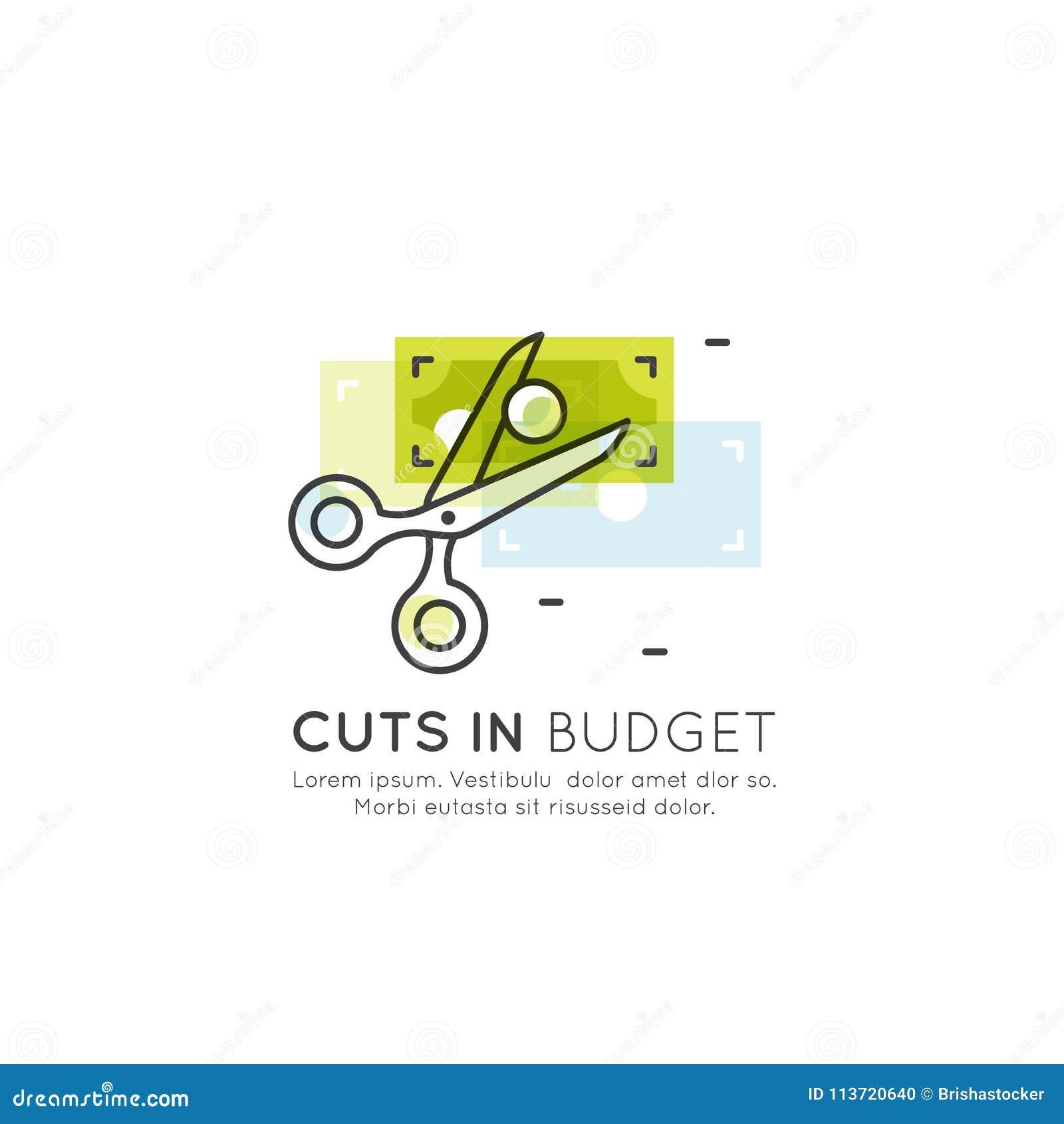 Ilustracja cięcie budżetowe, zmniejsza koszty, pieniądze oszczędzania pojęcie, kredyt, karty debetowej zapłata, gotówka lub monet