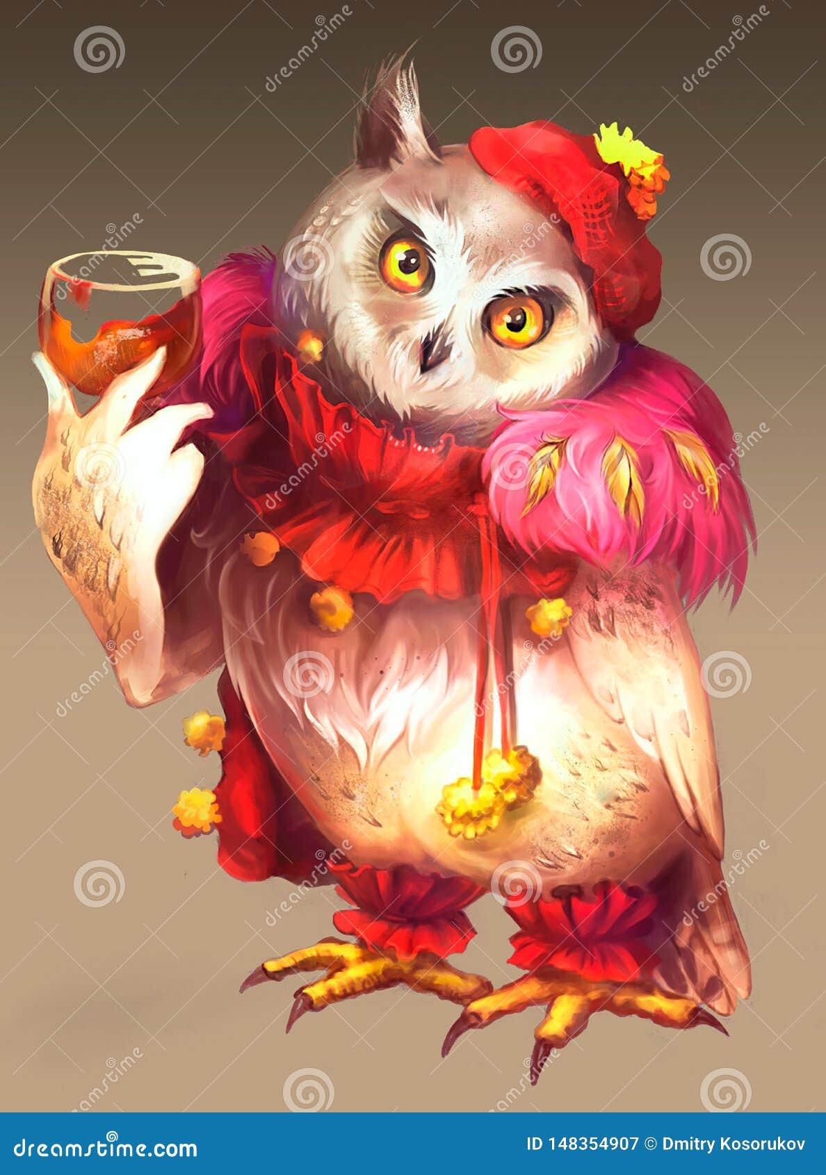 Ilustracja czarodziejska sowa