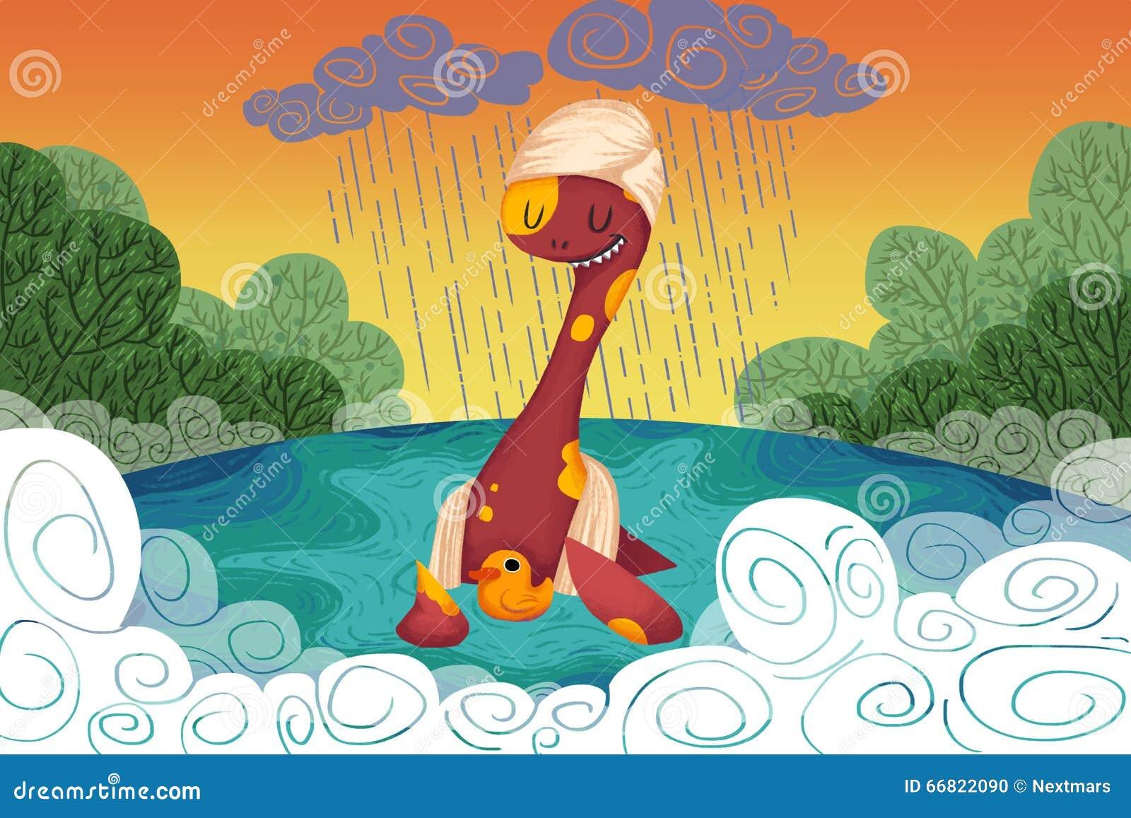 Ilustracja dla dzieci: Loch Ness potwór Zapewnia Żółtej kaczki Bezpieczna przystań Gdy Ja Pada