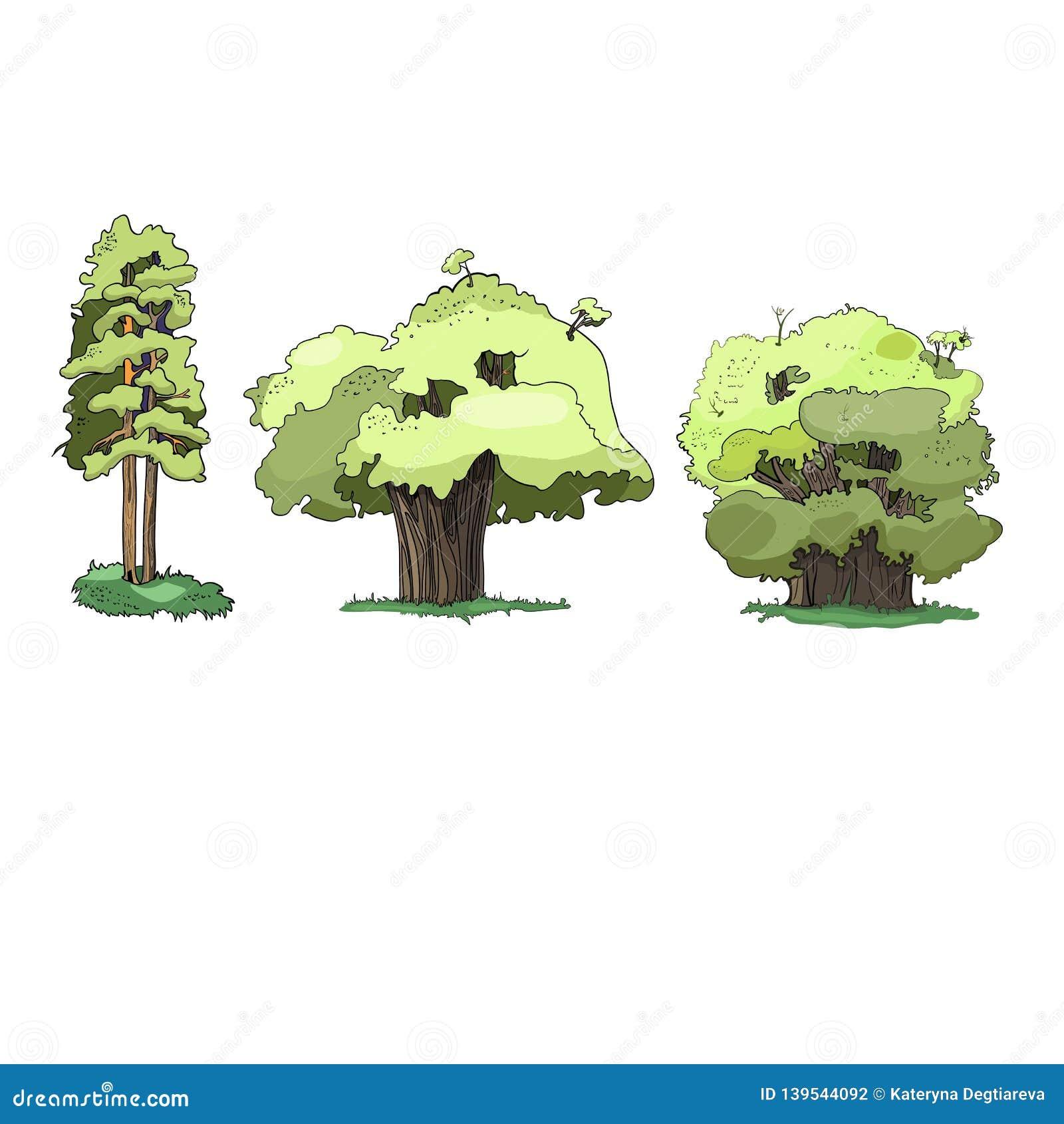 Ilustracja, drzewa