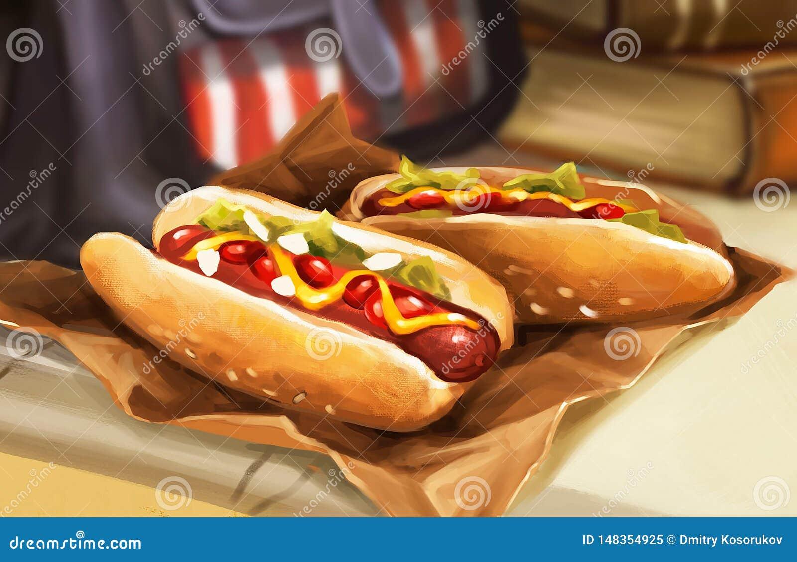 Ilustracja dwa hot dog na stole