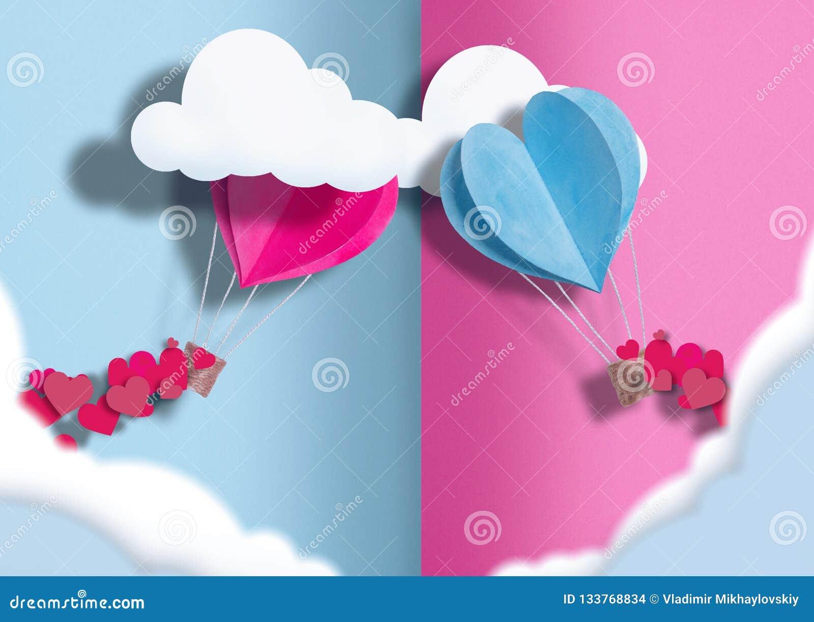 Ilustracja dzień wszystkie kochankowie balony błękit i menchie rozpraszają wokoło one mali serca