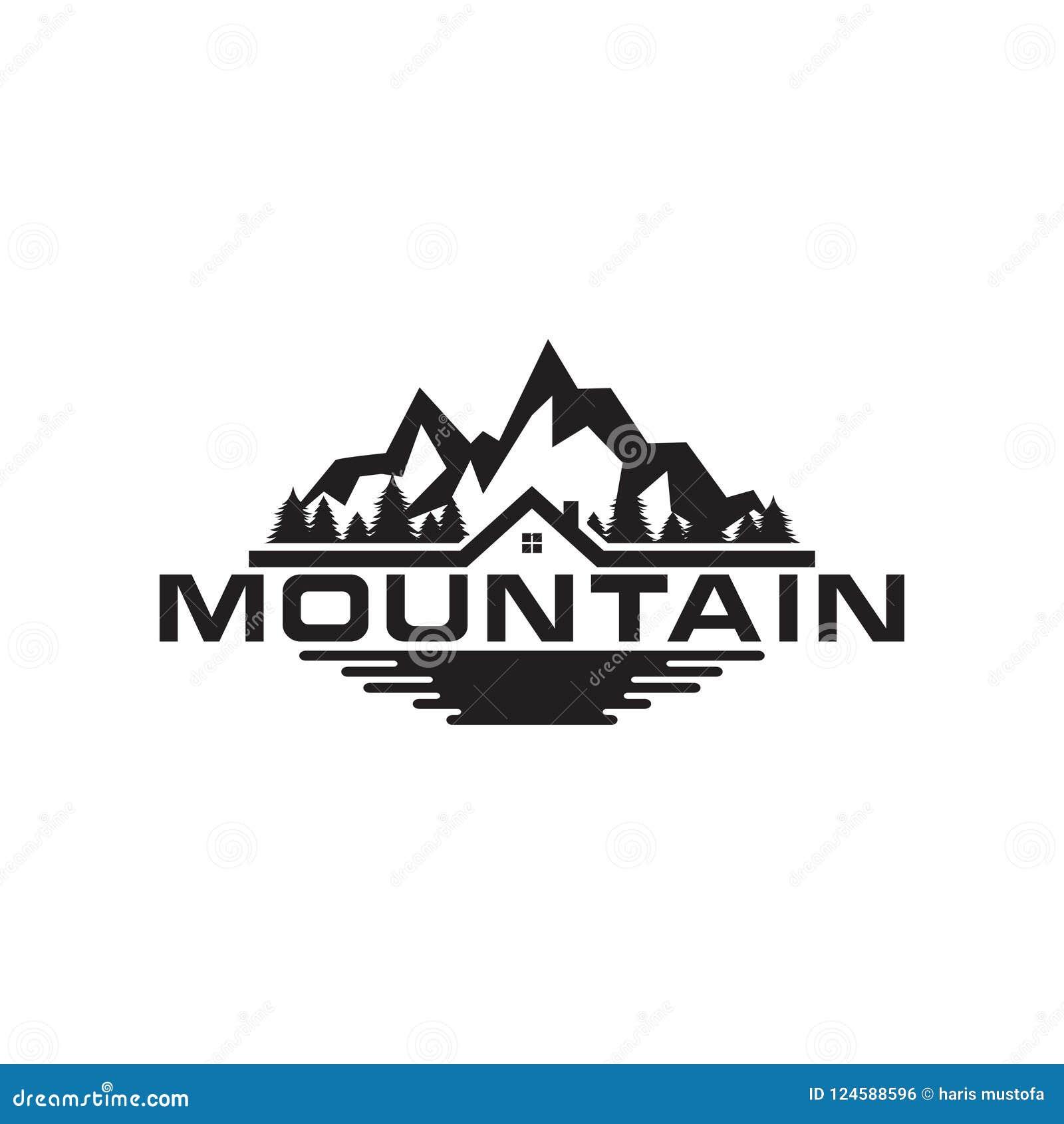 Ilustracja góry, drzew, domu i pola logo,
