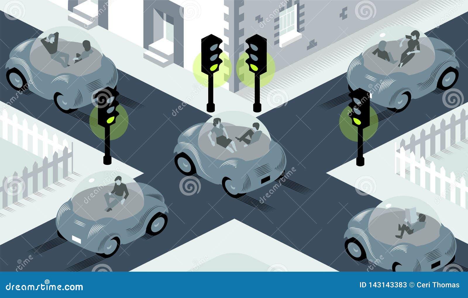 Ilustracja jaźń napędowi samochody krzyżuje na ruchliwie skrzyżowaniu, ustawia zielenieć dokąd światła są wszystko