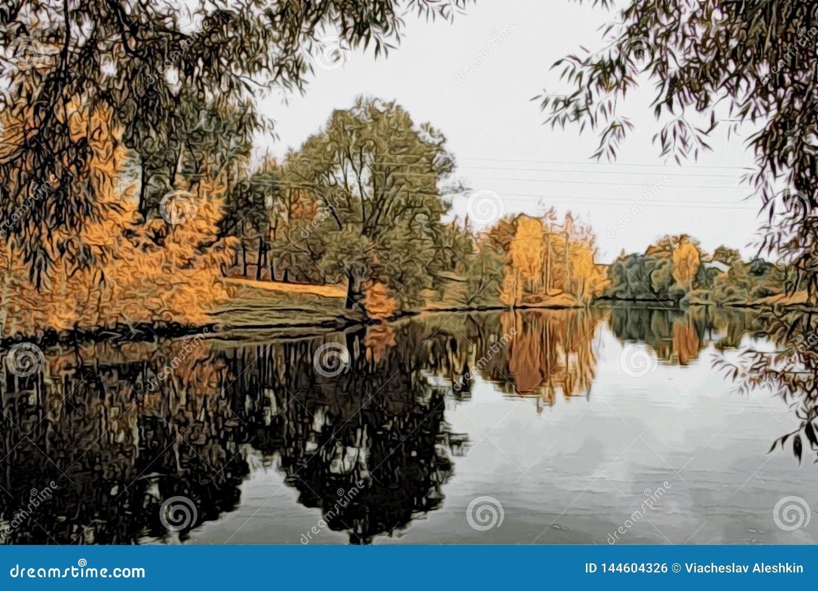 Ilustracja - jesień krajobraz z odbiciem w wodzie staw
