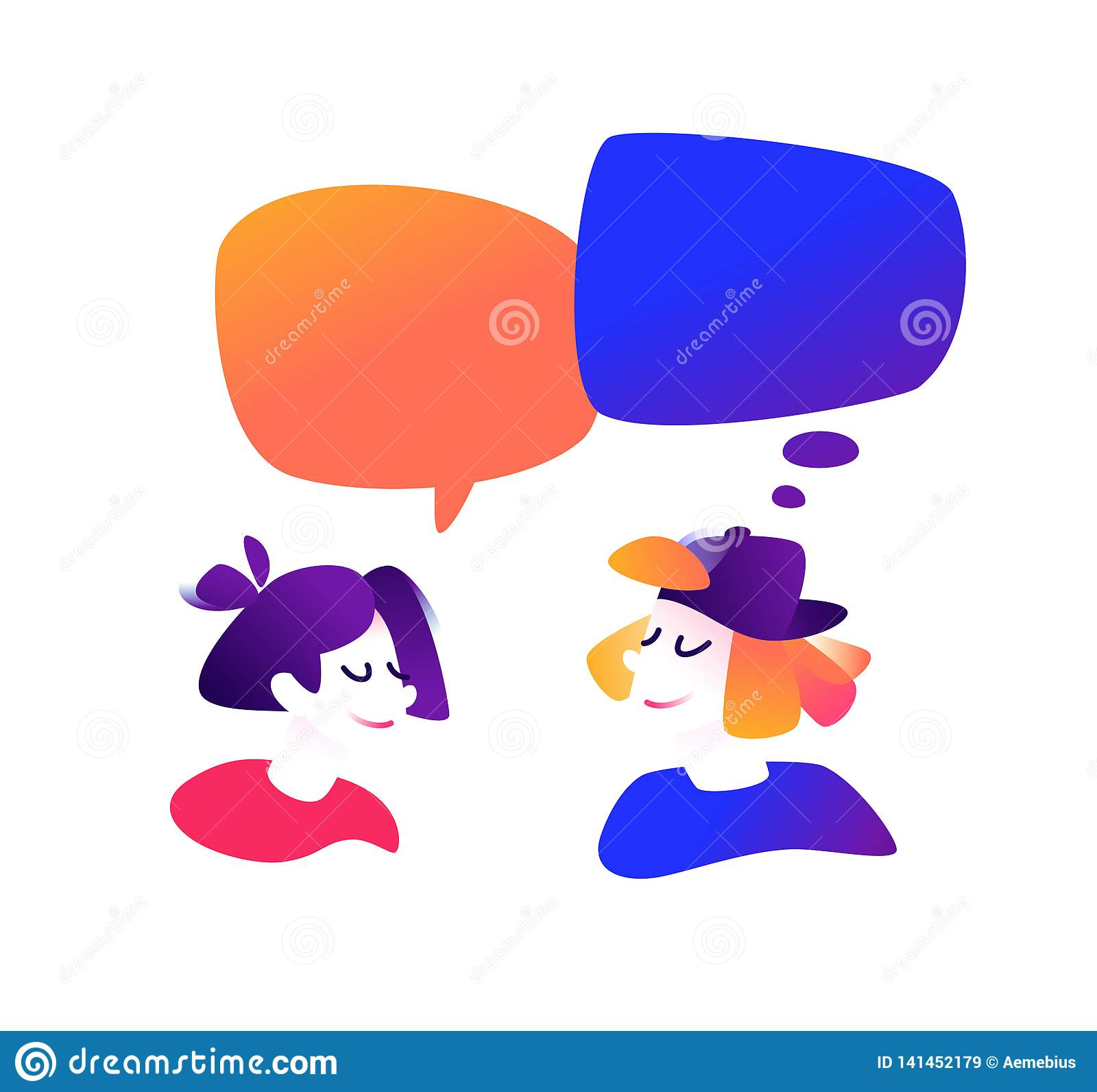 Ilustracja komunikuje facet i dziewczyna również zwrócić corel ilustracji wektora Śliczni charaktery w komiczce, kreskówka styl k