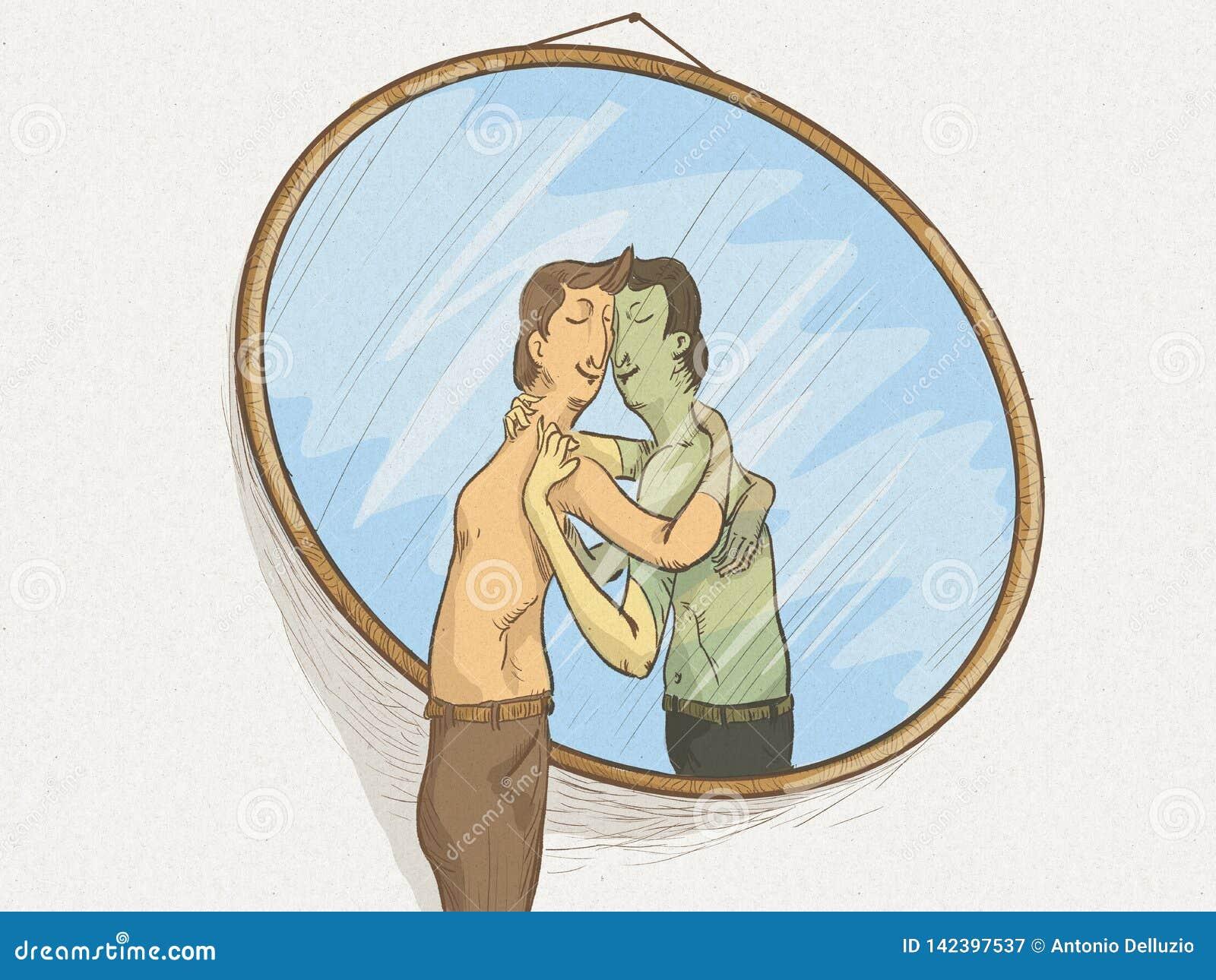 Ilustracja mężczyzna w lustrze w miłości z on w plciowej postawie