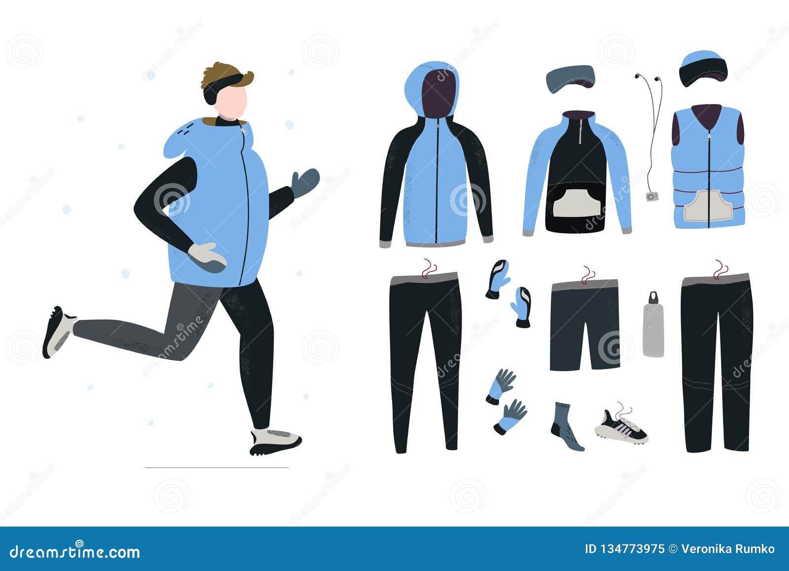 Ilustracja młodego człowieka bieg w zima zimnym sezonie z zima bieg przekładnią