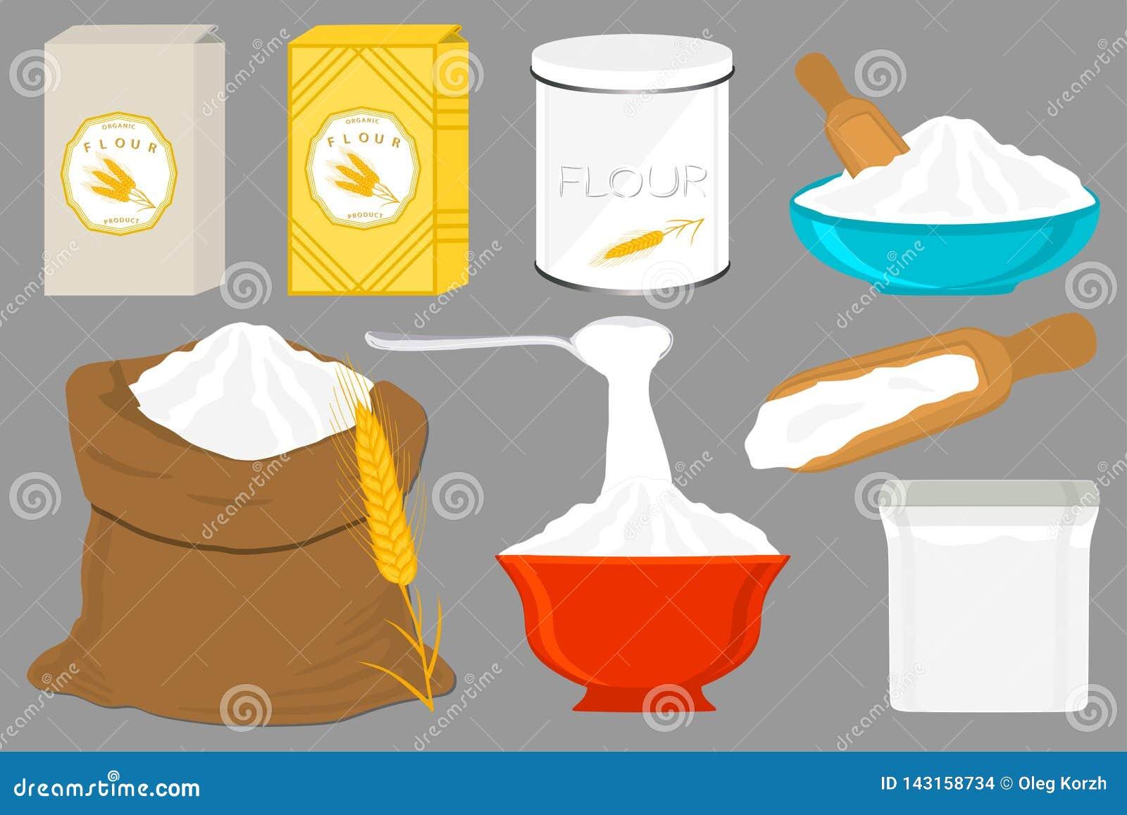 Ilustracja na tematów dużych ustalonych różnych typach dishware wypełniał pszeniczną mąkę