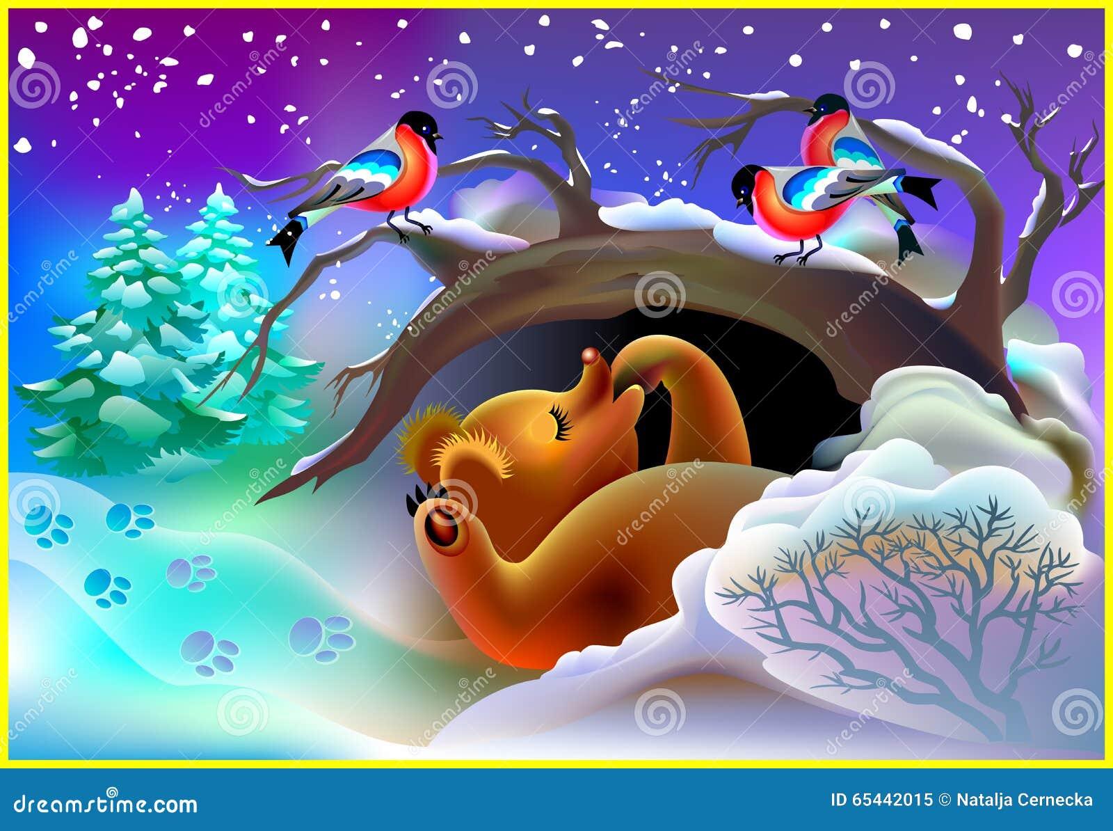 Ilustracja niedźwiadkowy dosypianie w jamie podczas zimy