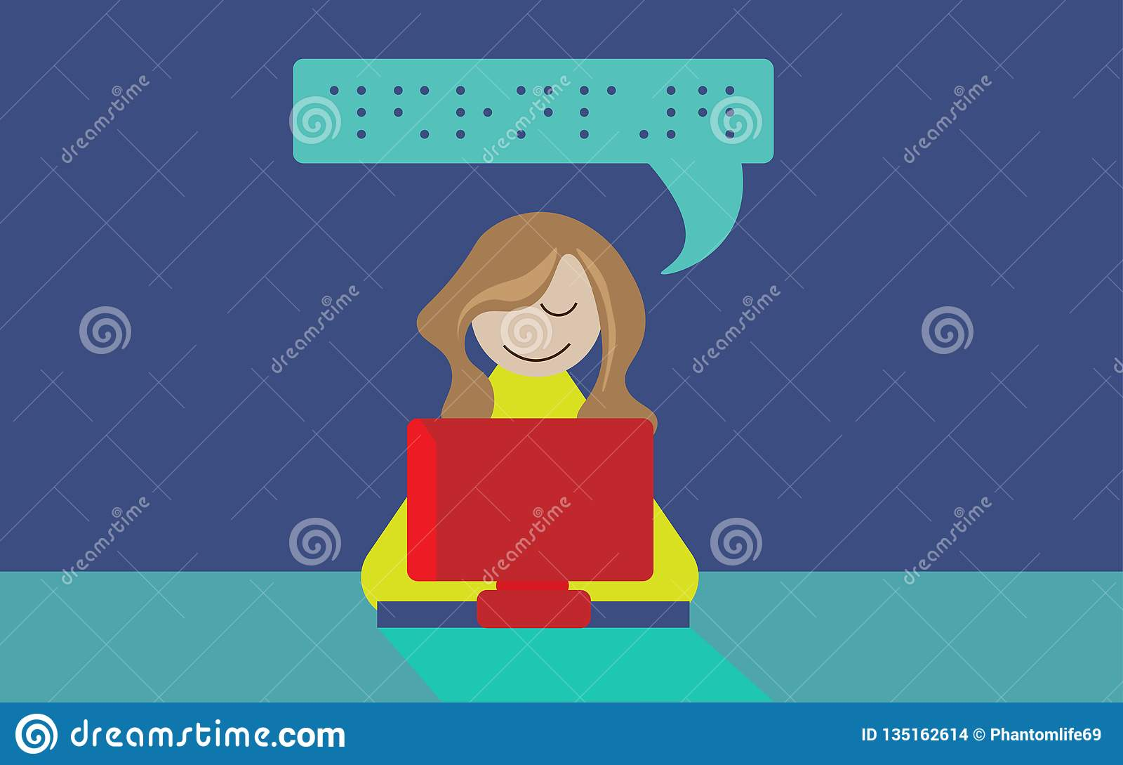 Ilustracja niewidoma osoba używa Braille komputer