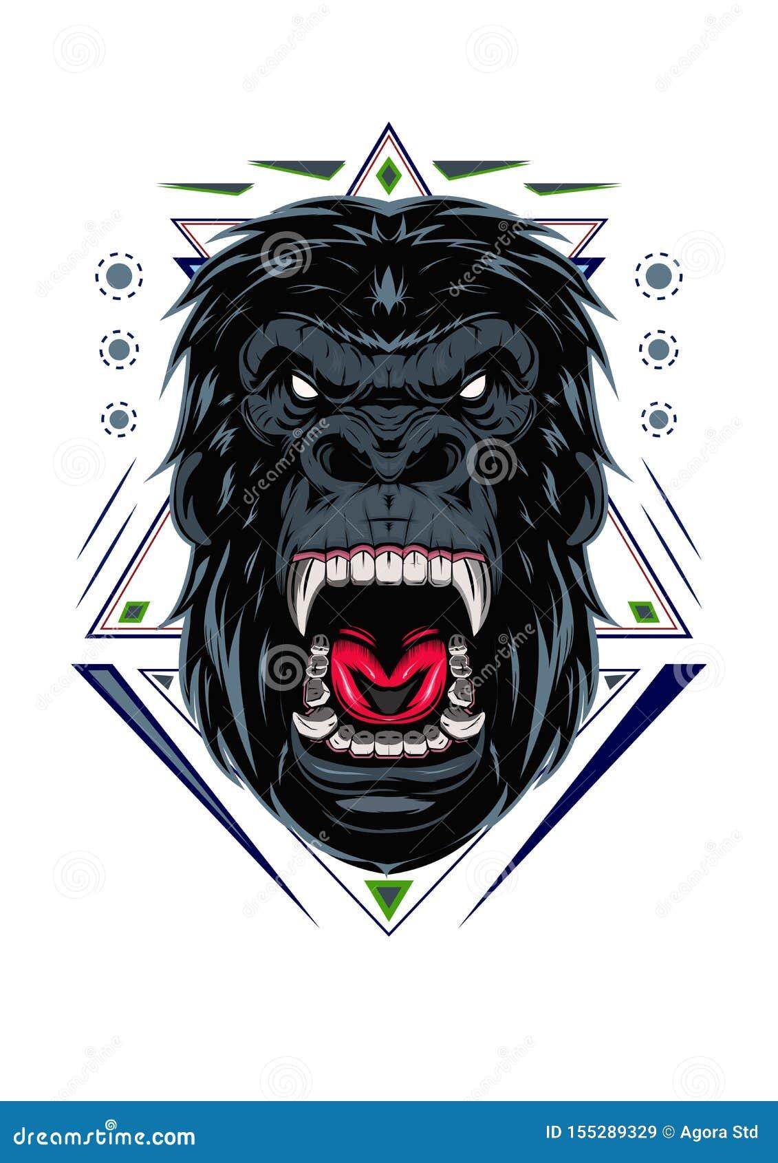 Ilustracja, okrutnie goryla kierownicza, Szalenie goryl twarz z świętą geometrią na białym tle/,